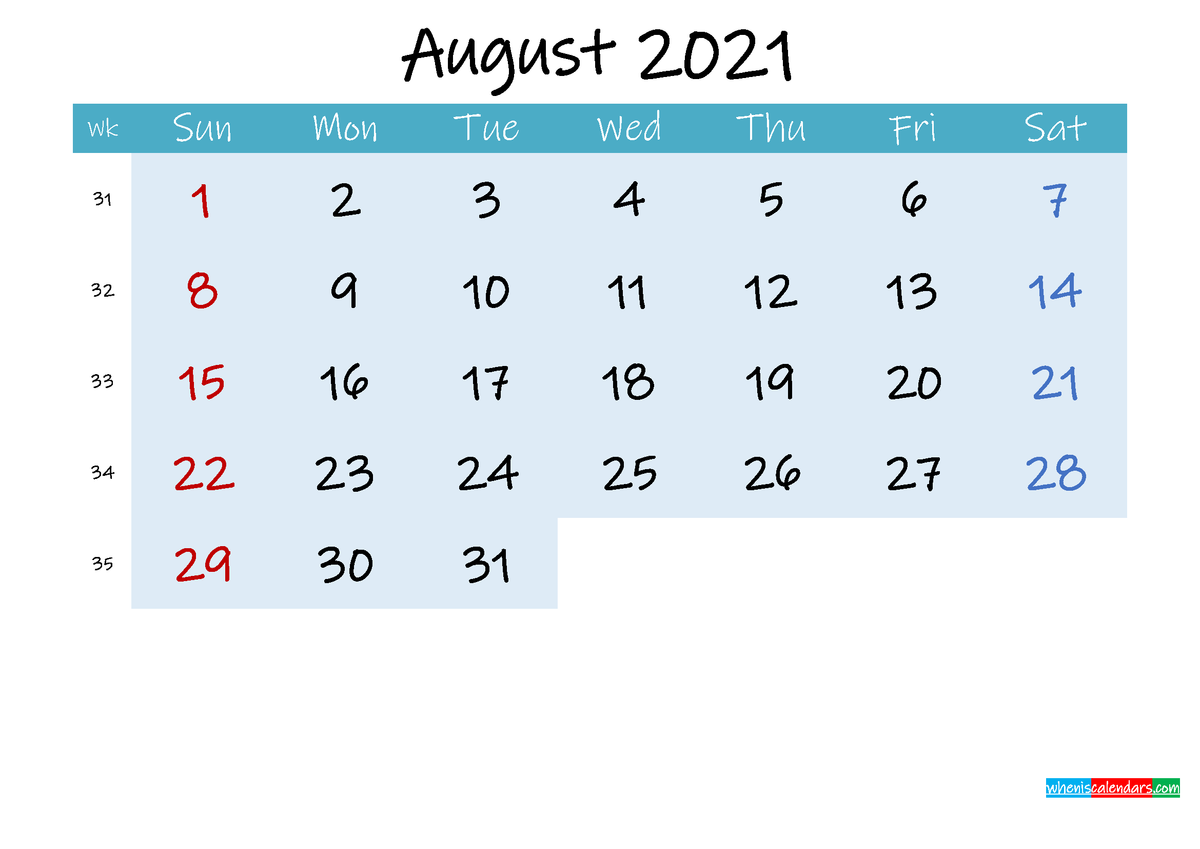 Printable August 2021 Calendar Word