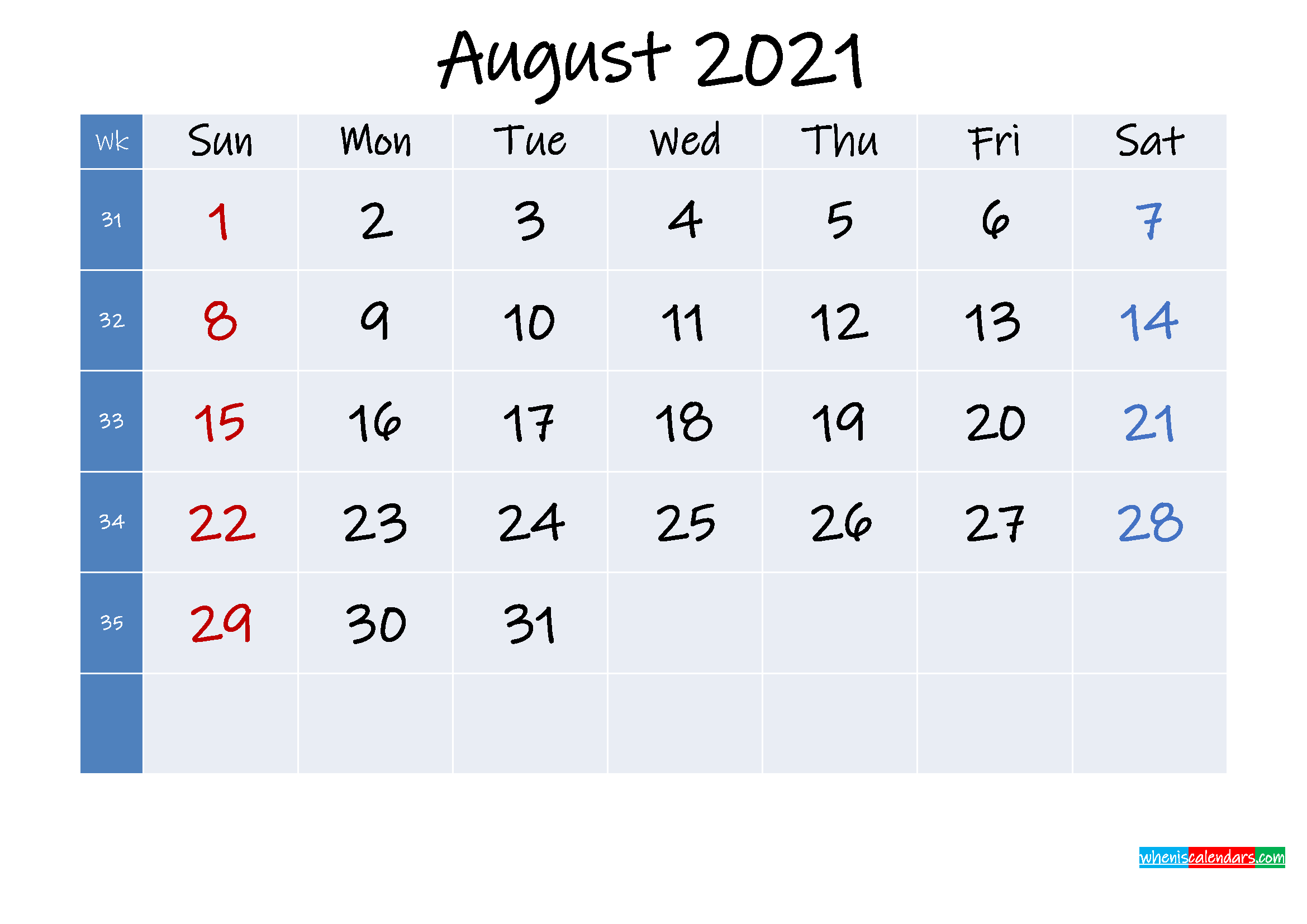 Printable August 2021 Calendar with Holidays - Template No ...