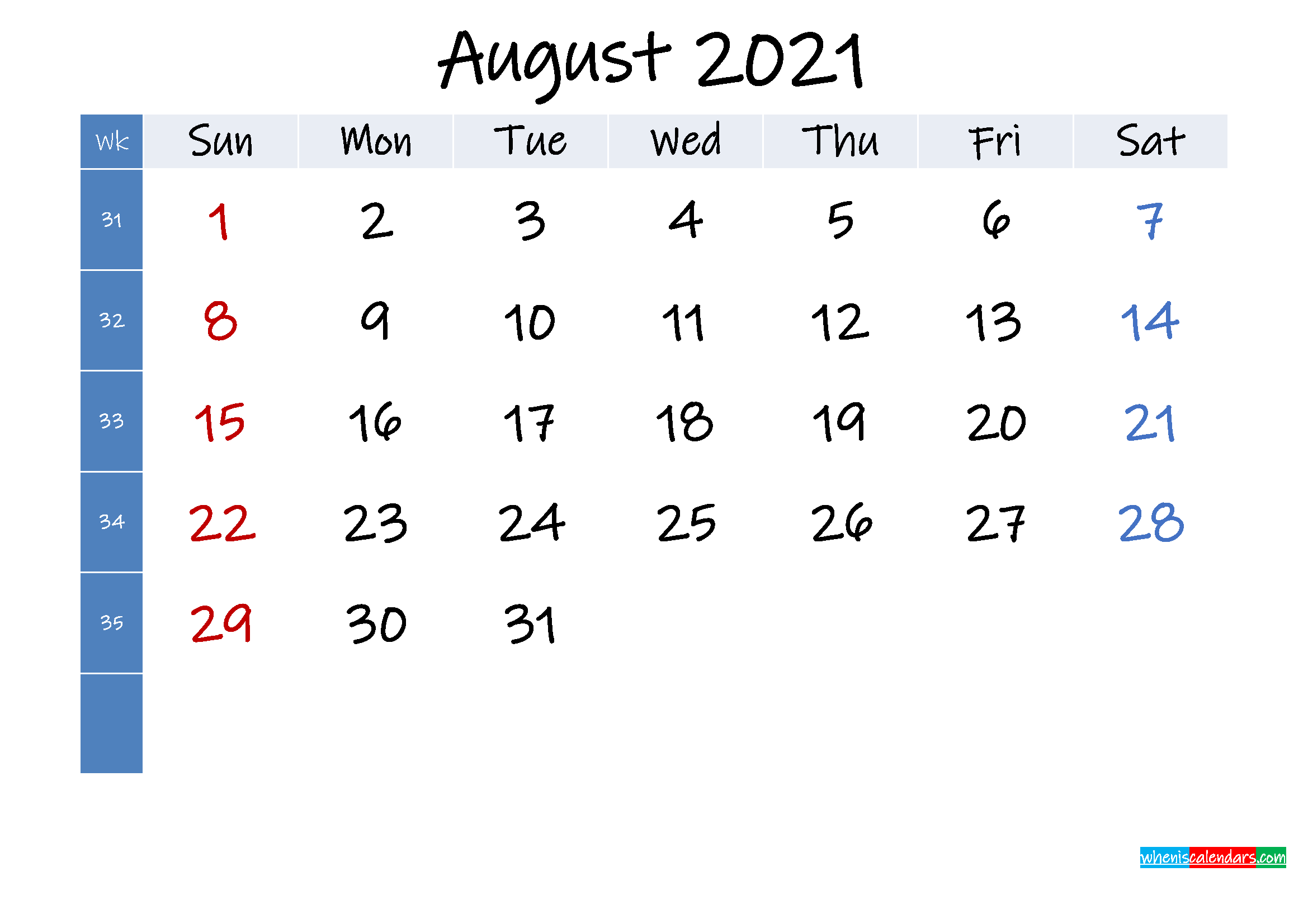 August 2021 Free Printable Calendar with Holidays