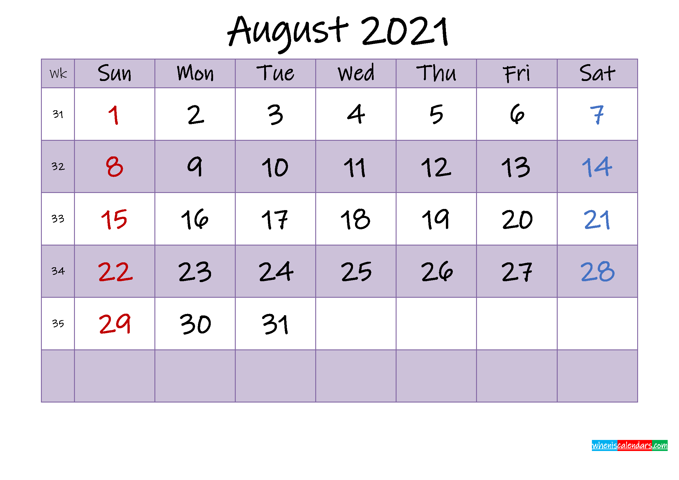 Editable August 2021 Calendar - Template No.ink21m464 ...