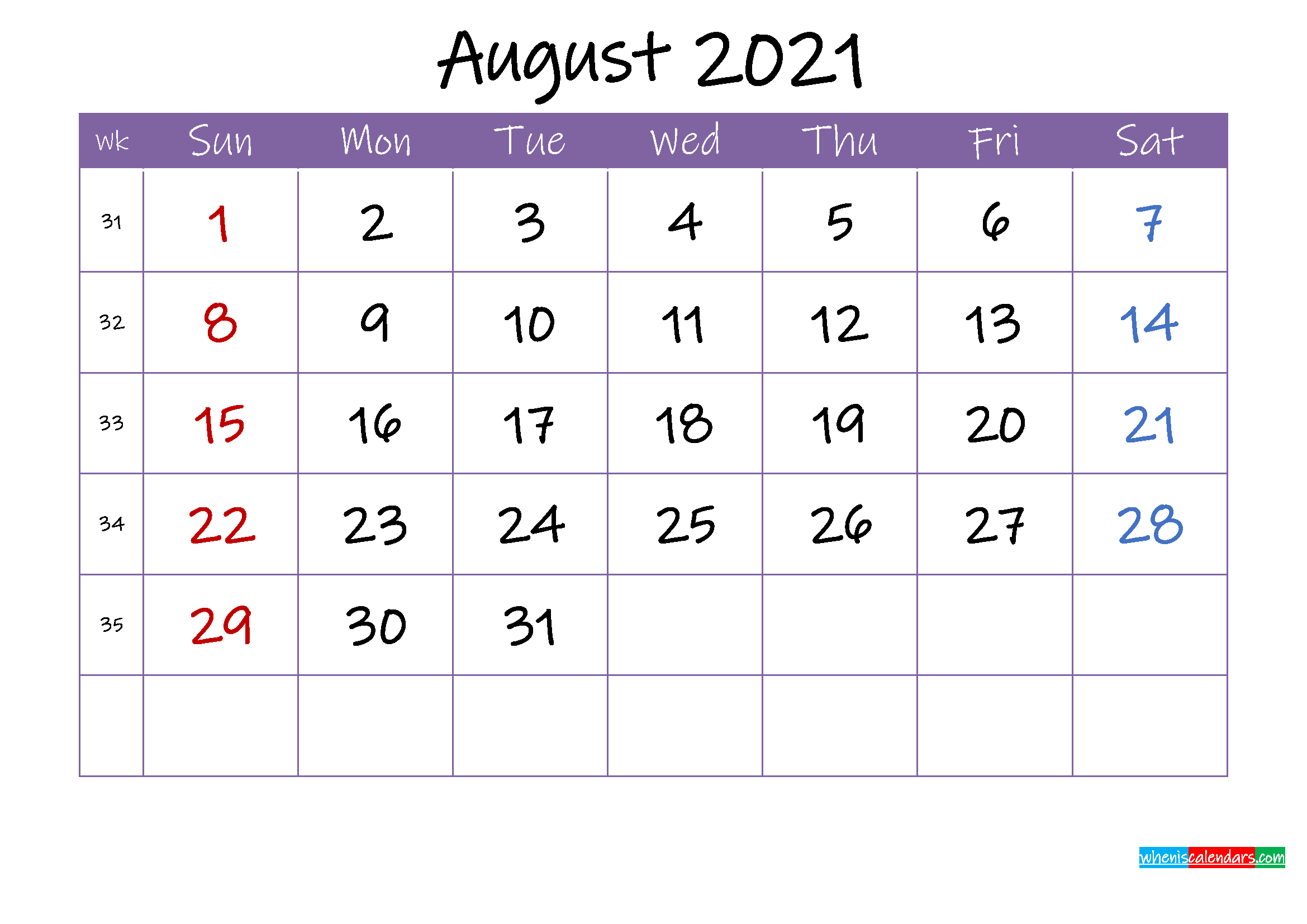August 2021 Calendar with Holidays Printable - Template ...