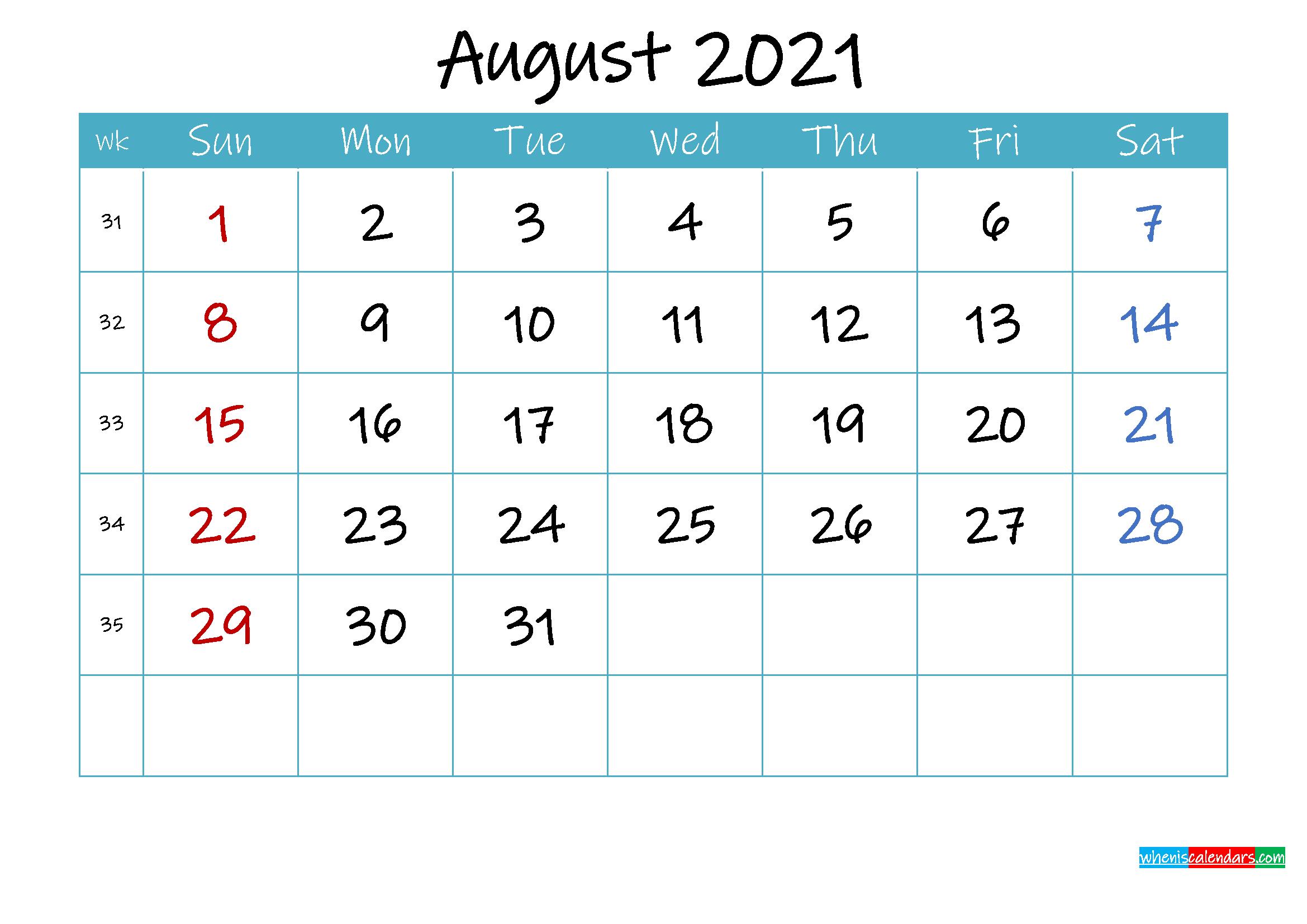Printable August 2021 Calendar PDF