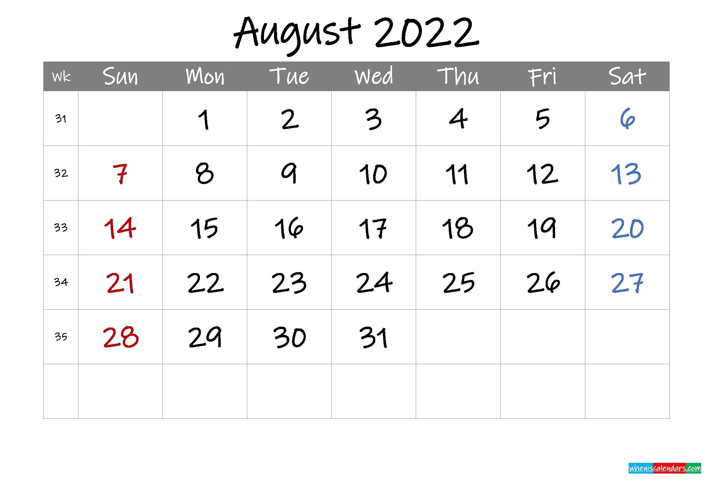 Editable August 2022 Calendar with Holidays