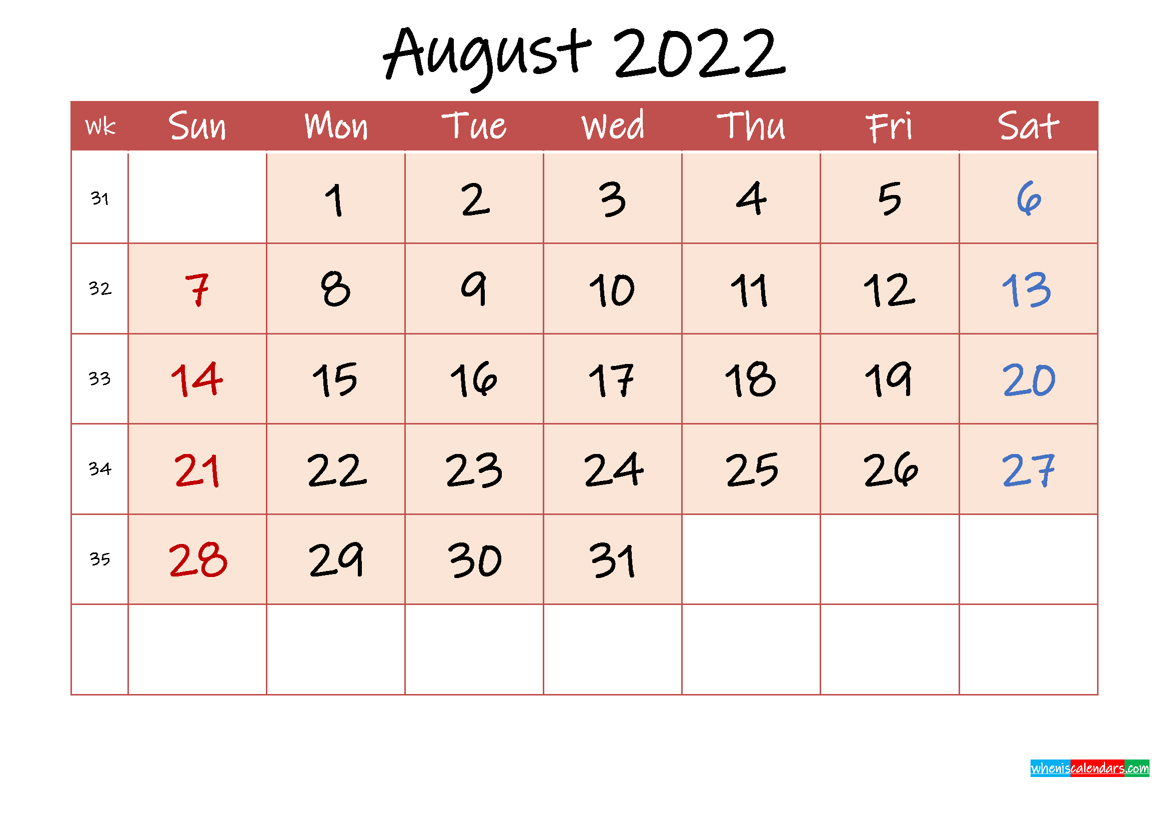 August 2022 Free Printable Calendar with Holidays