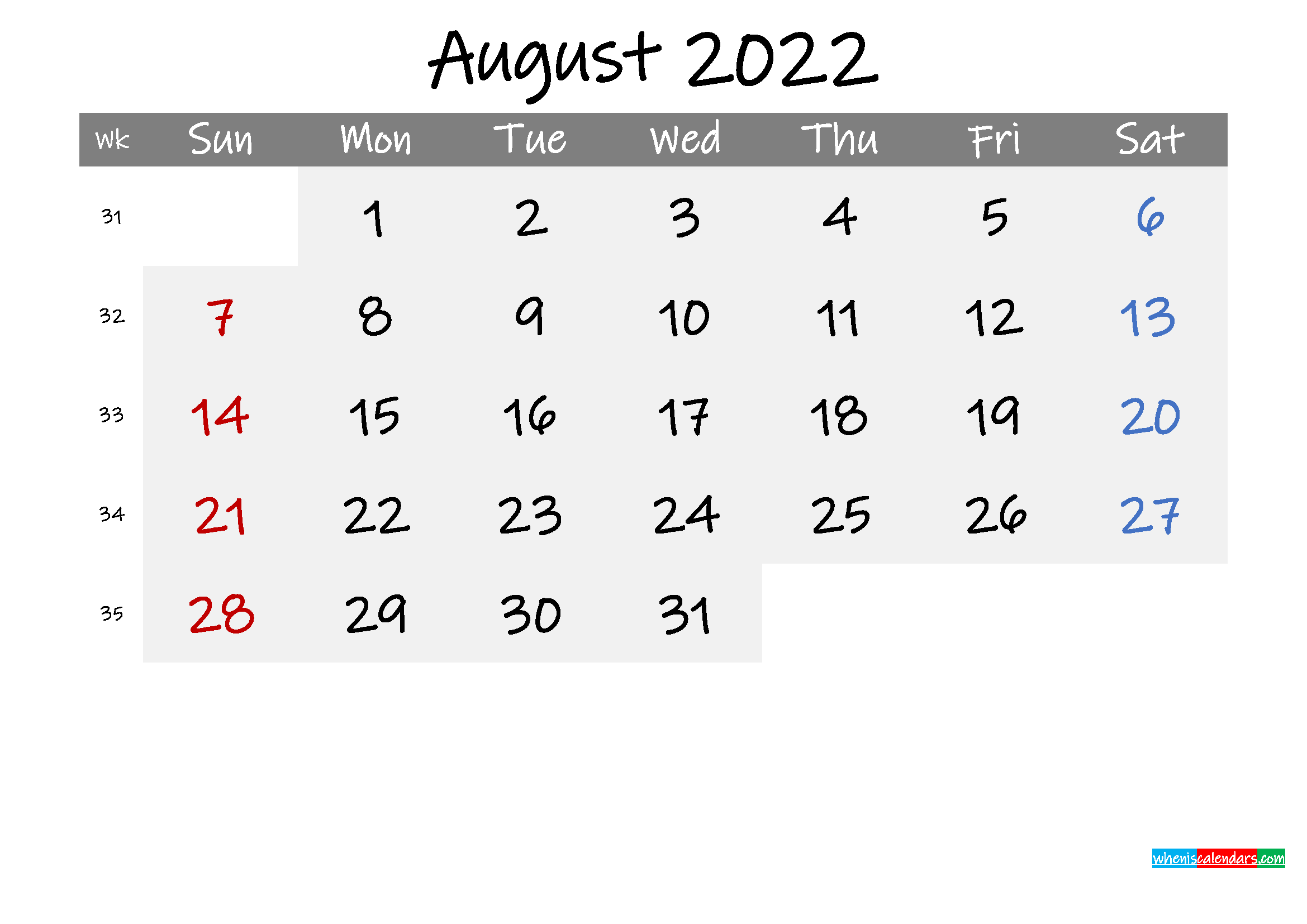 Free August 2022 Monthly Calendar Template Word