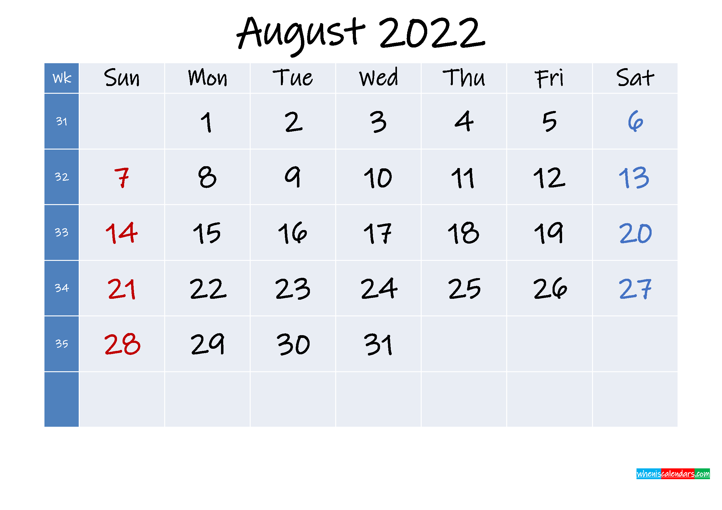Printable August 2022 Calendar with Holidays