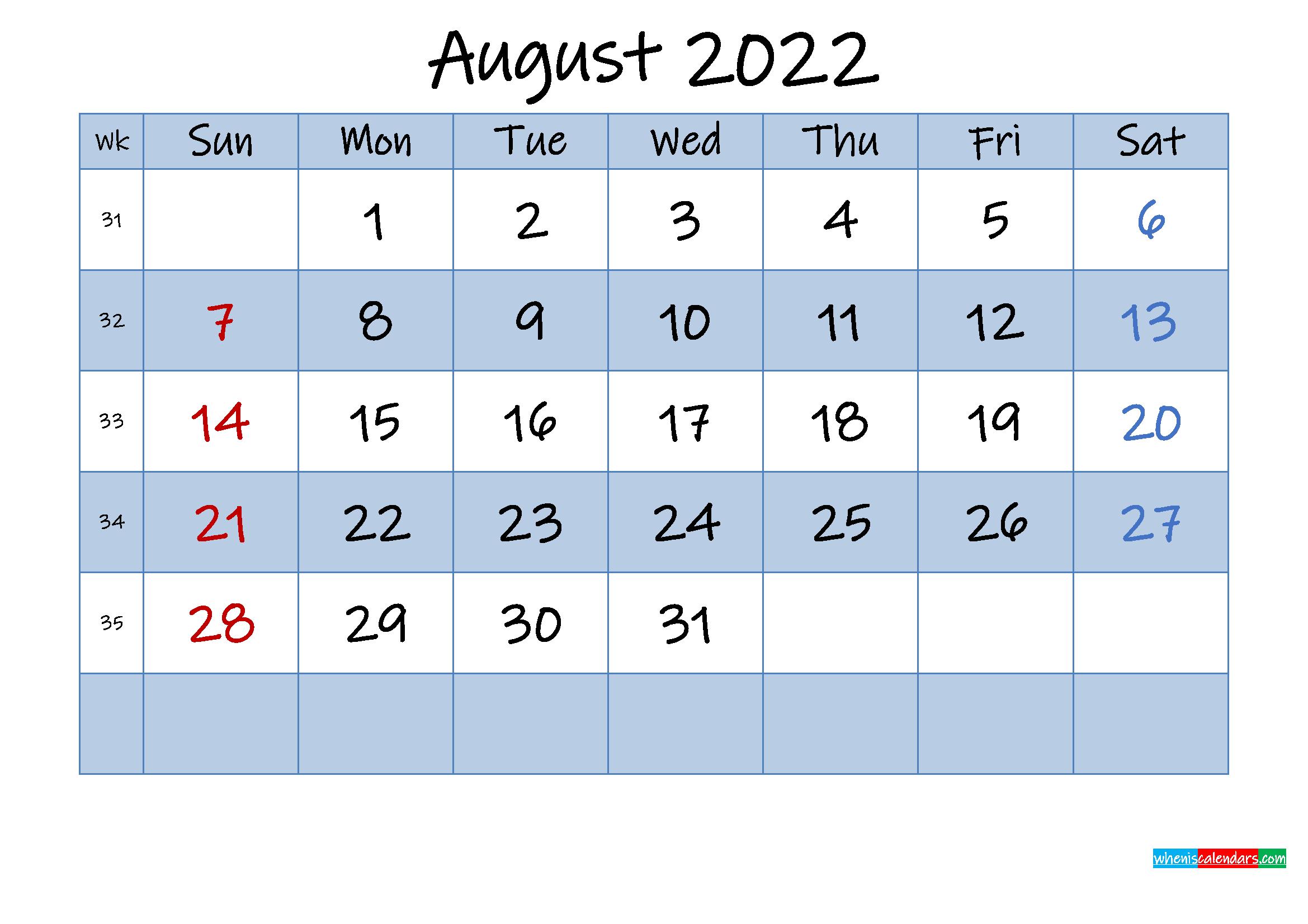 Free August 2022 Monthly Calendar PDF