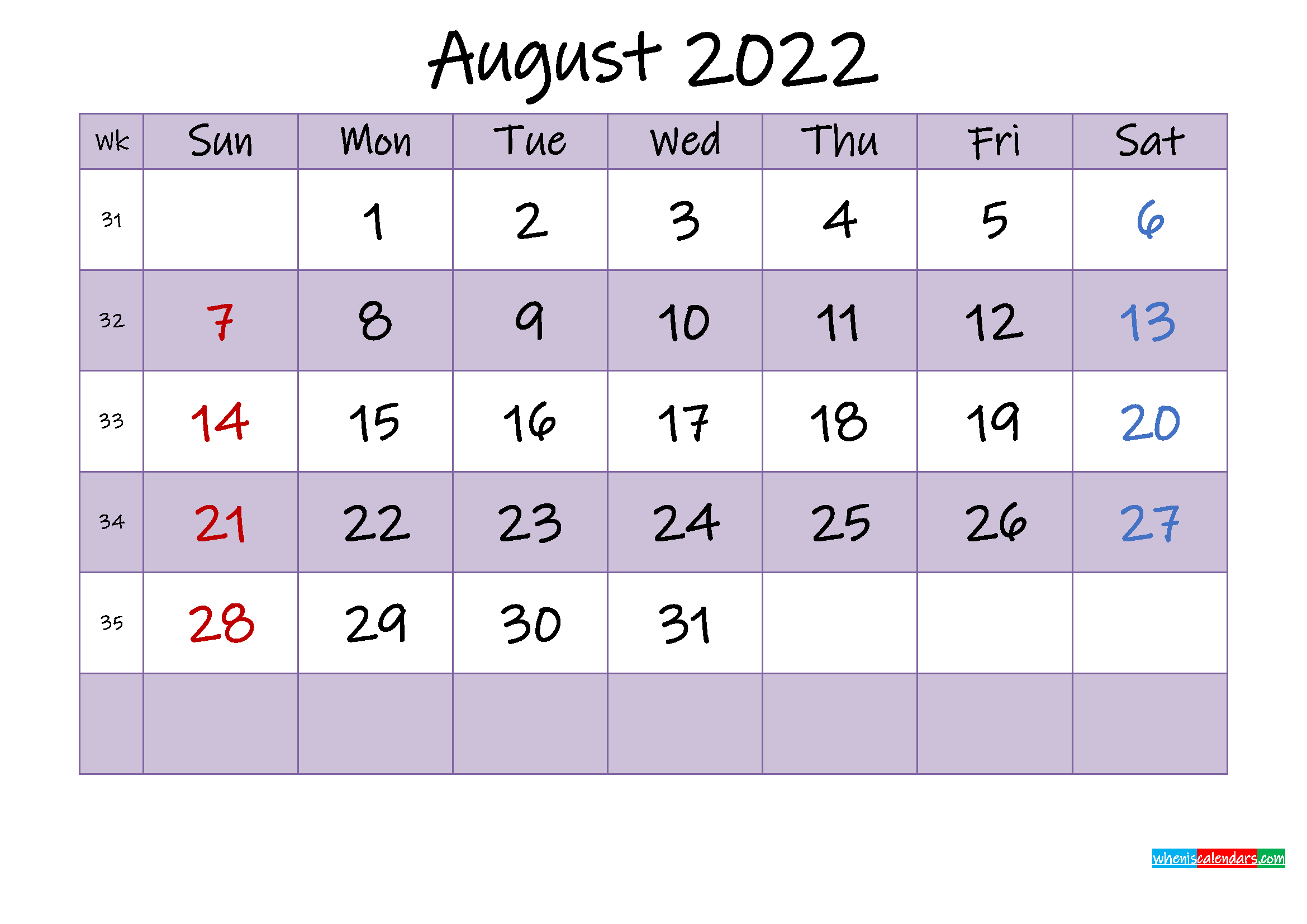 Editable August 2022 Calendar
