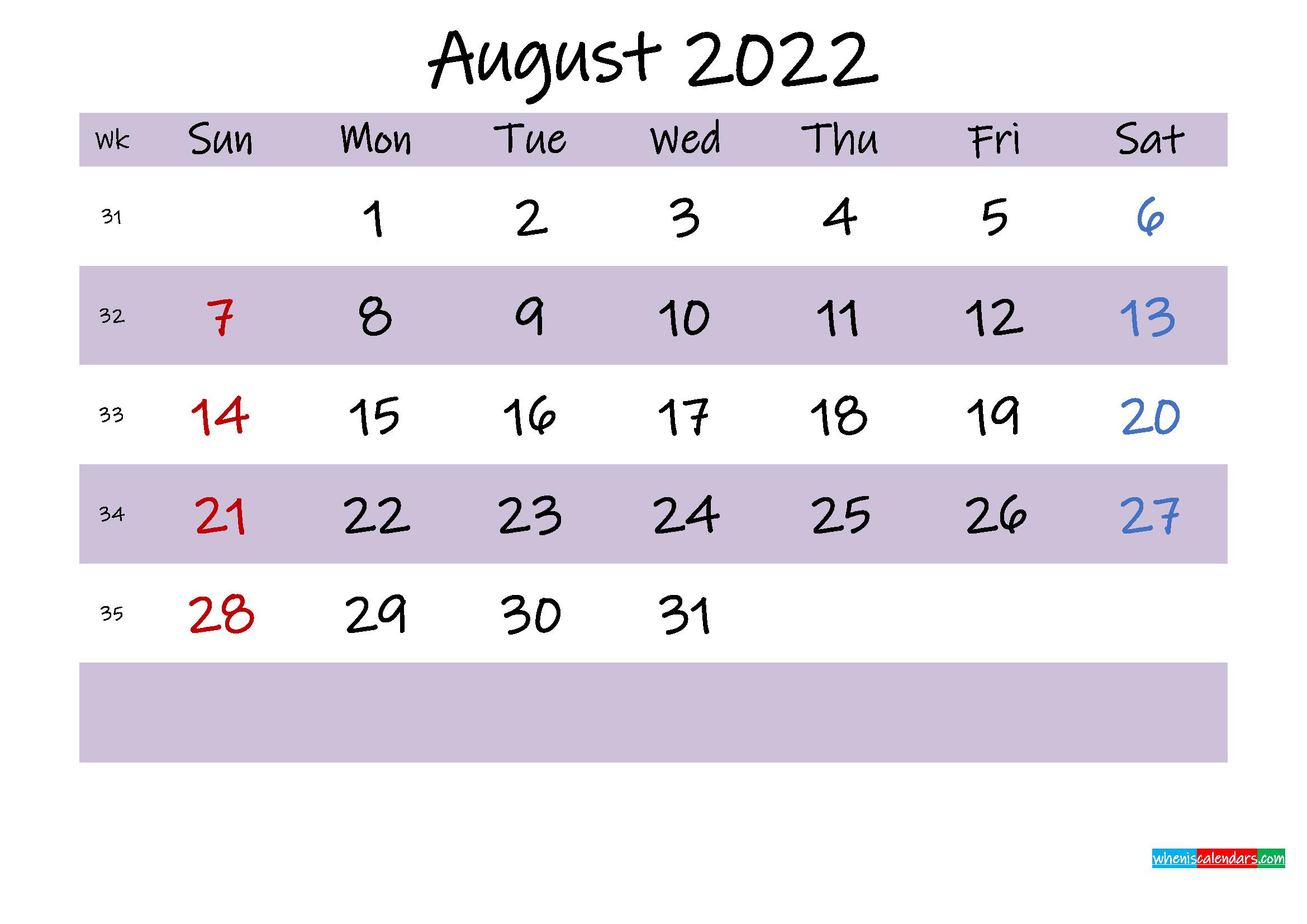August 2022 Calendar with Holidays Printable