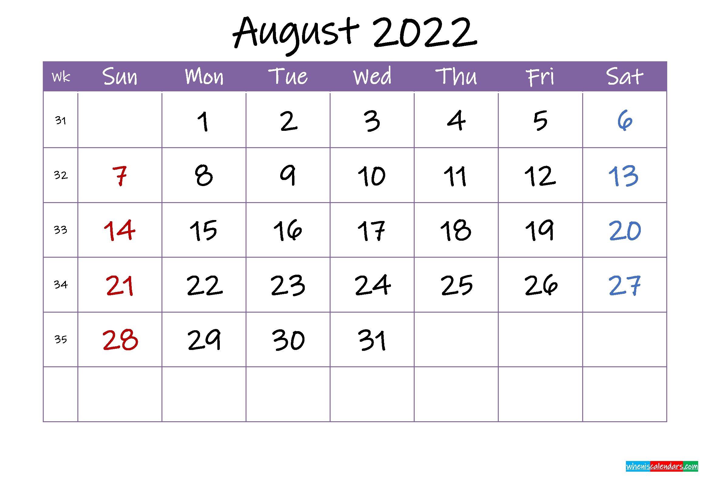 August 2022 Calendar with Holidays Printable