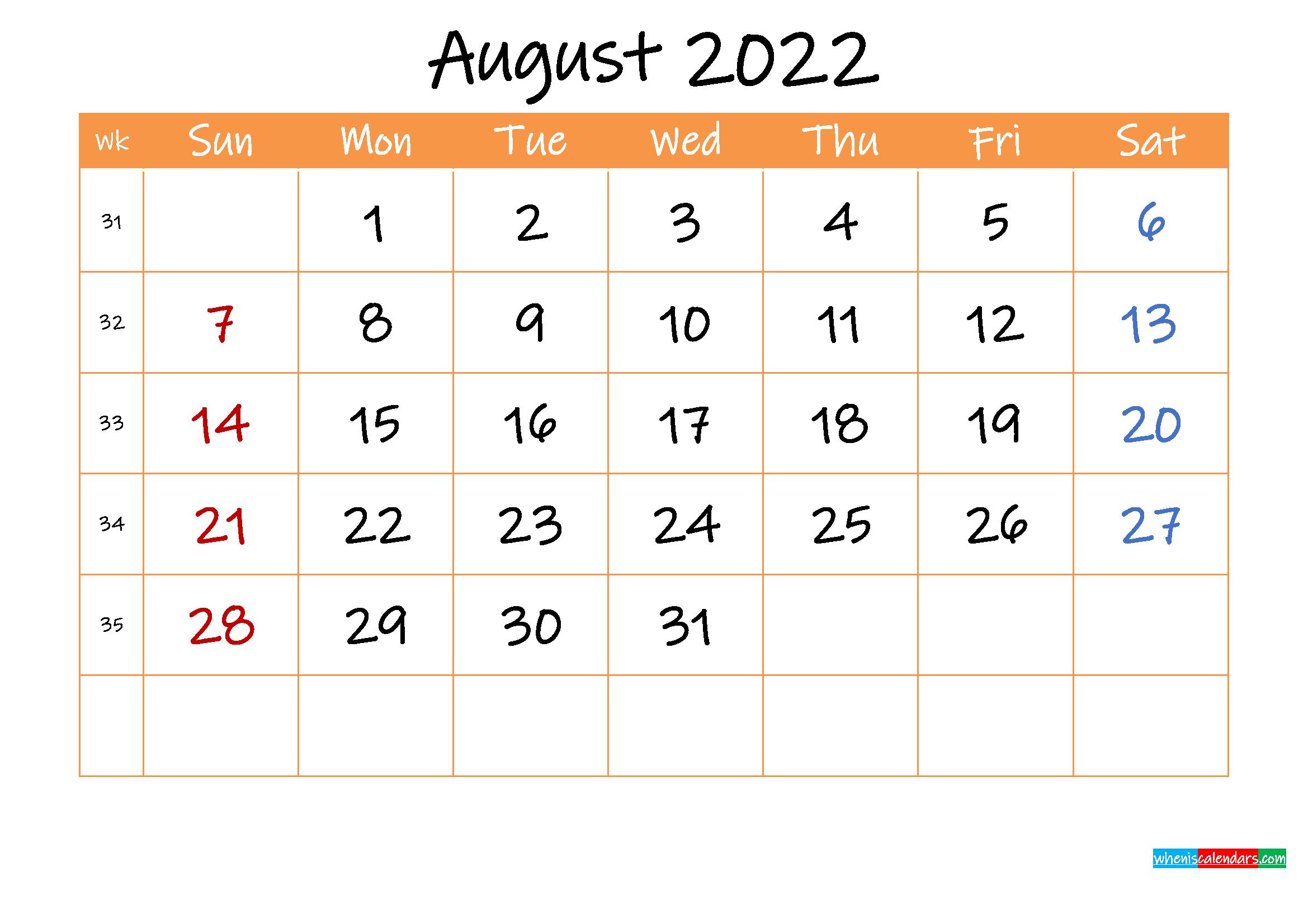Free Printable Calendar August 2022