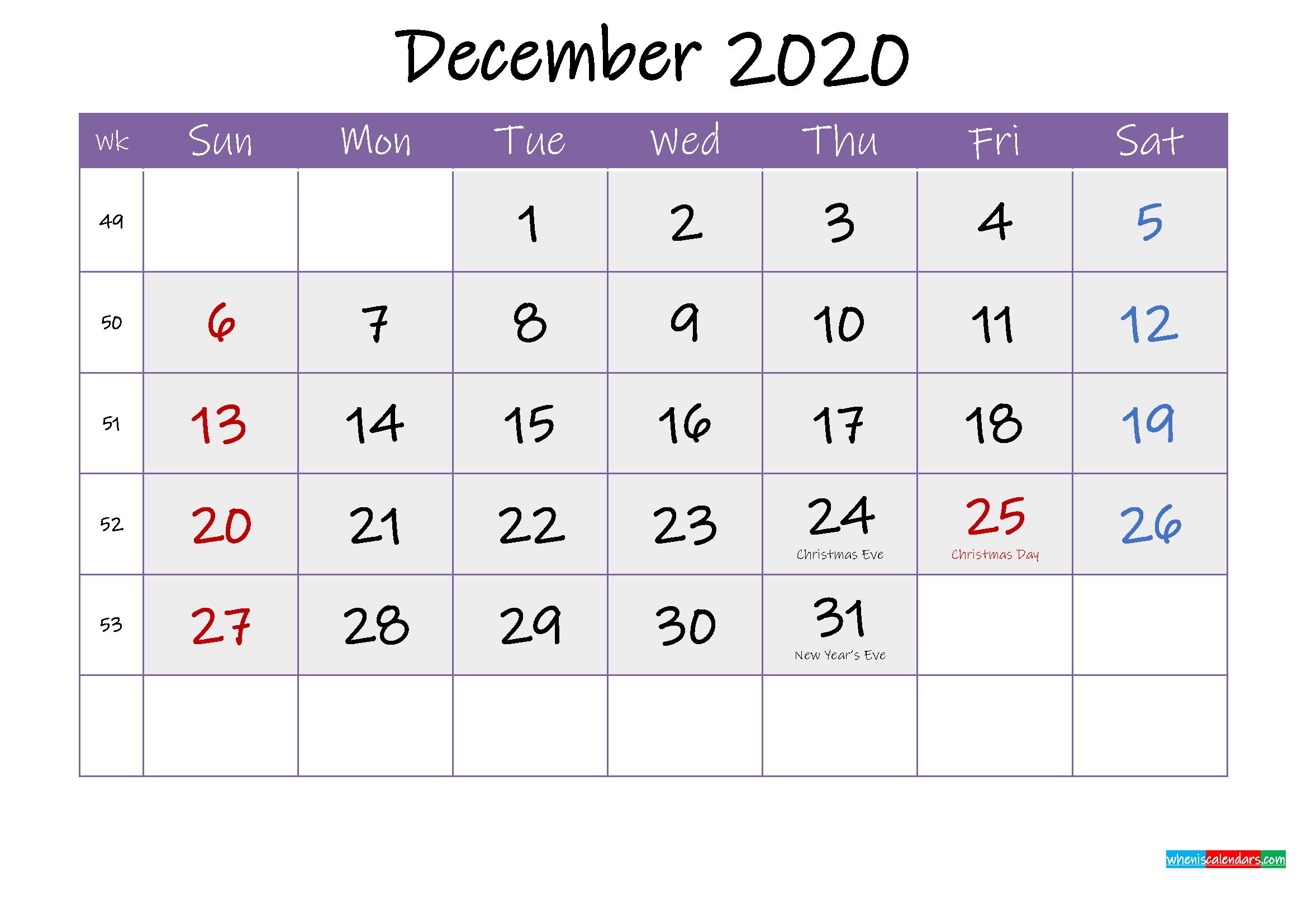 Free December 2020 Printable Calendar with Holidays
