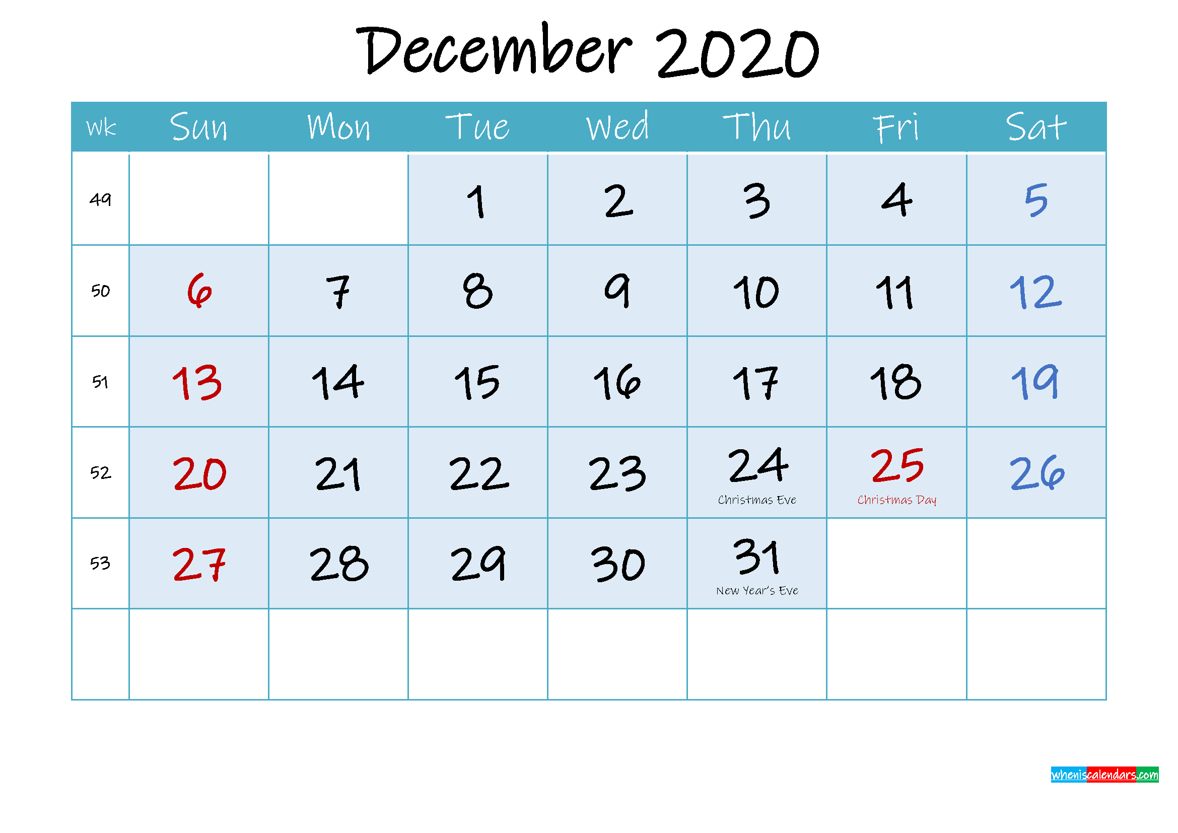 December 2020 Free Printable Calendar with Holidays