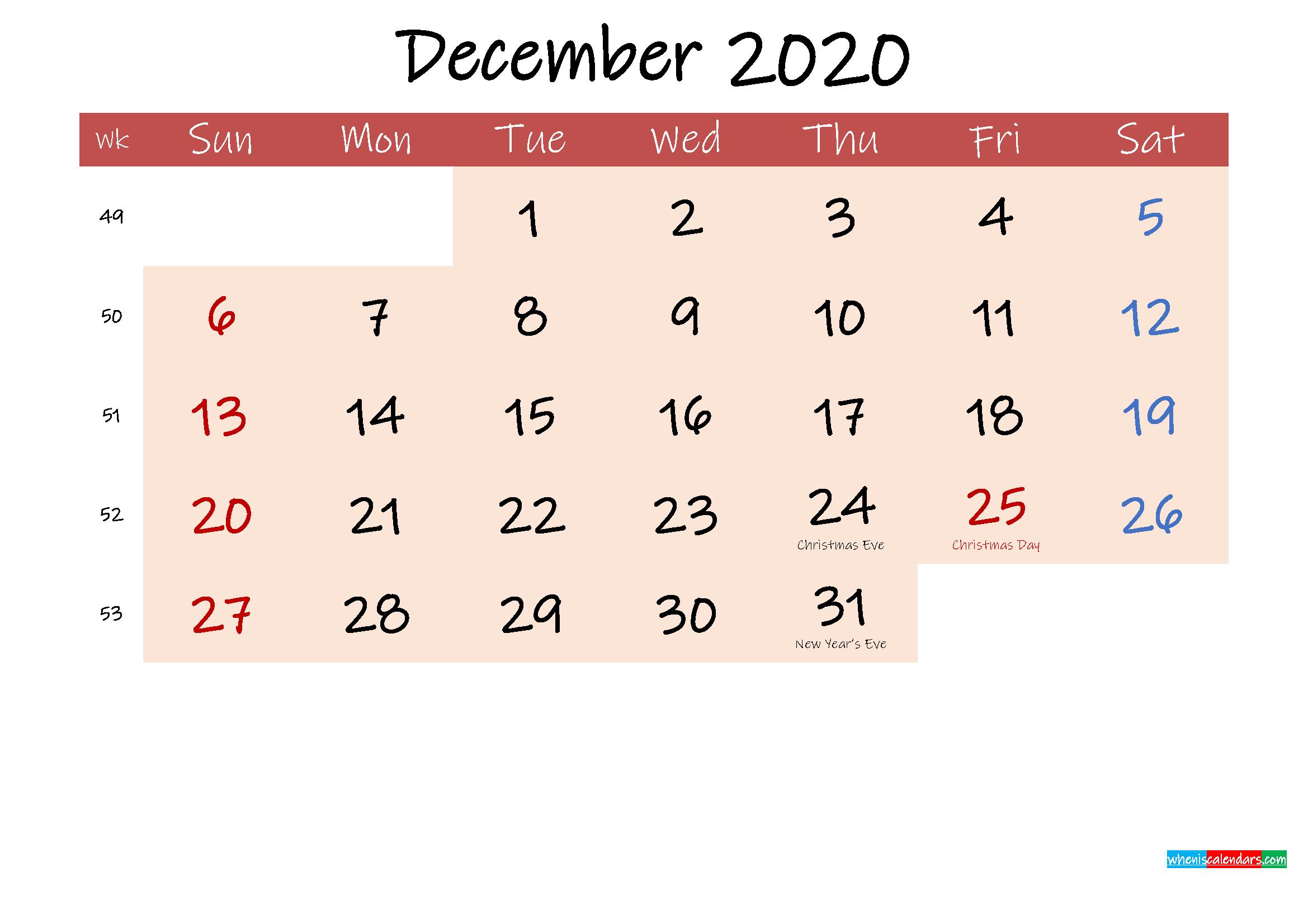Free Printable Coloring Calendar 2020 December