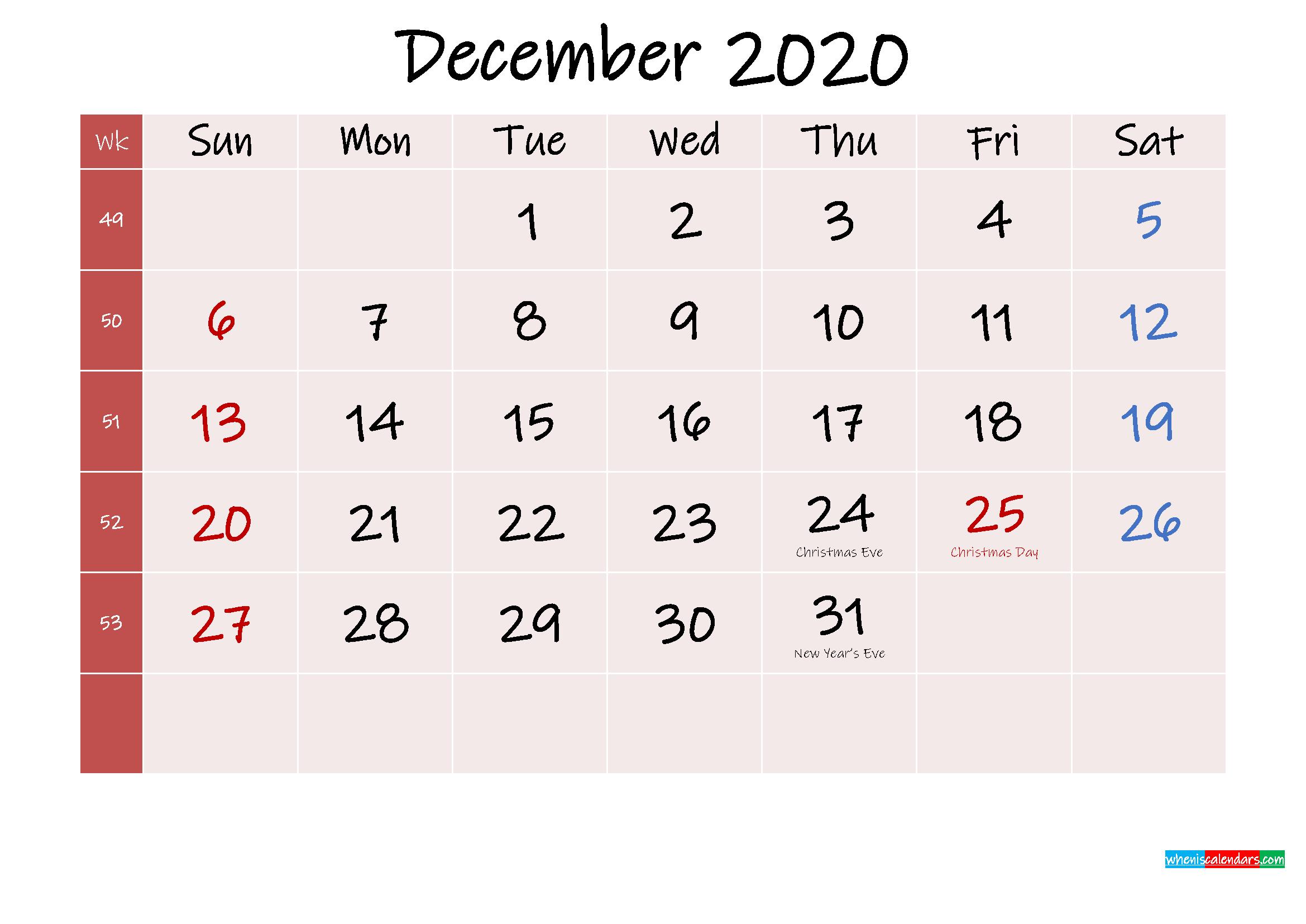 Free Printable December 2020 Calendar with Holidays