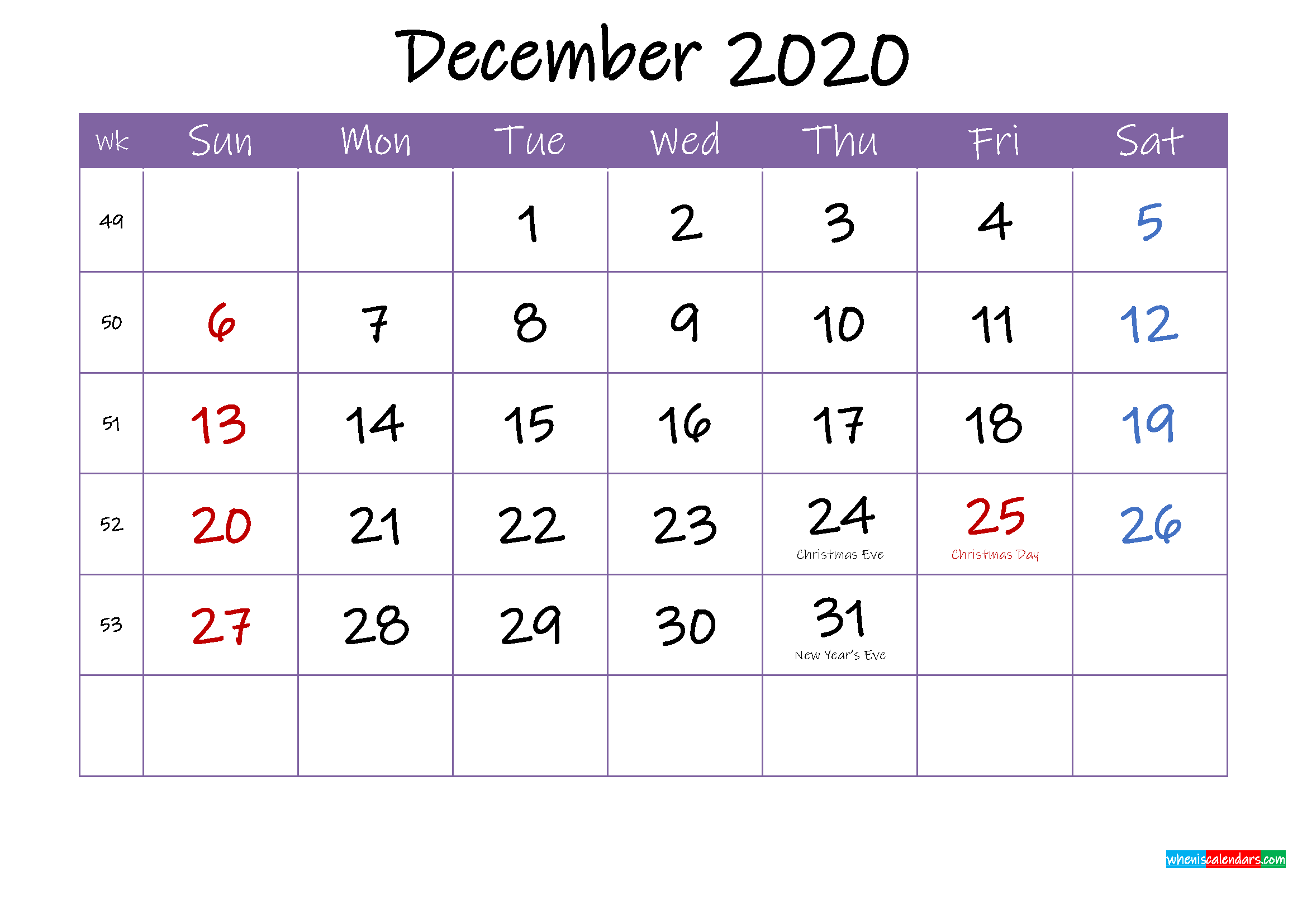 December 2020 Calendar with Holidays Printable