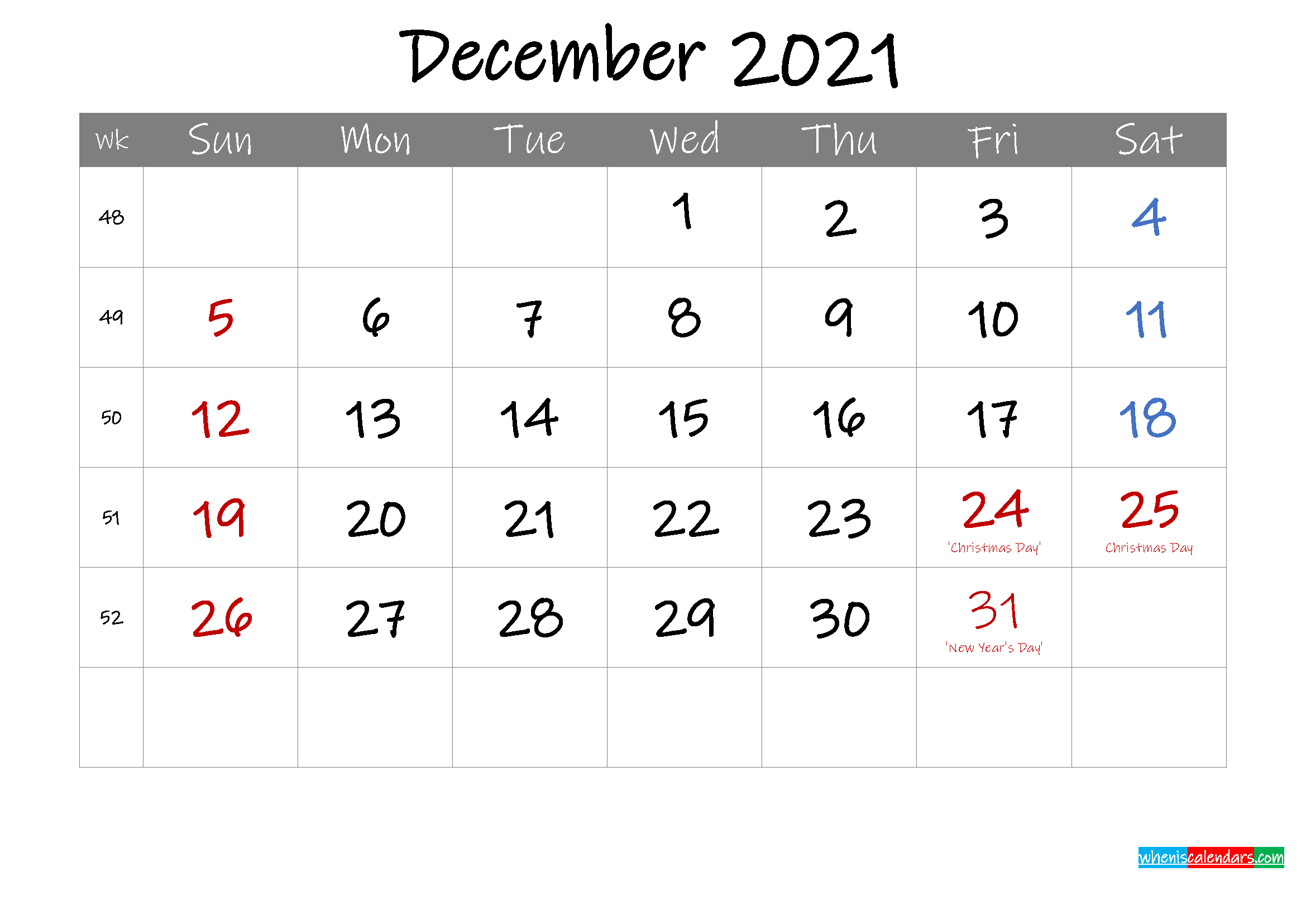 Editable December 2021 Calendar with Holidays
