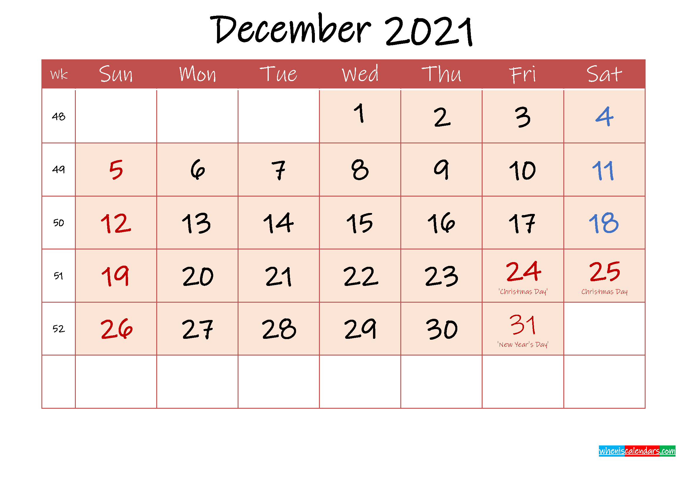 December 2021 Free Printable Calendar with Holidays