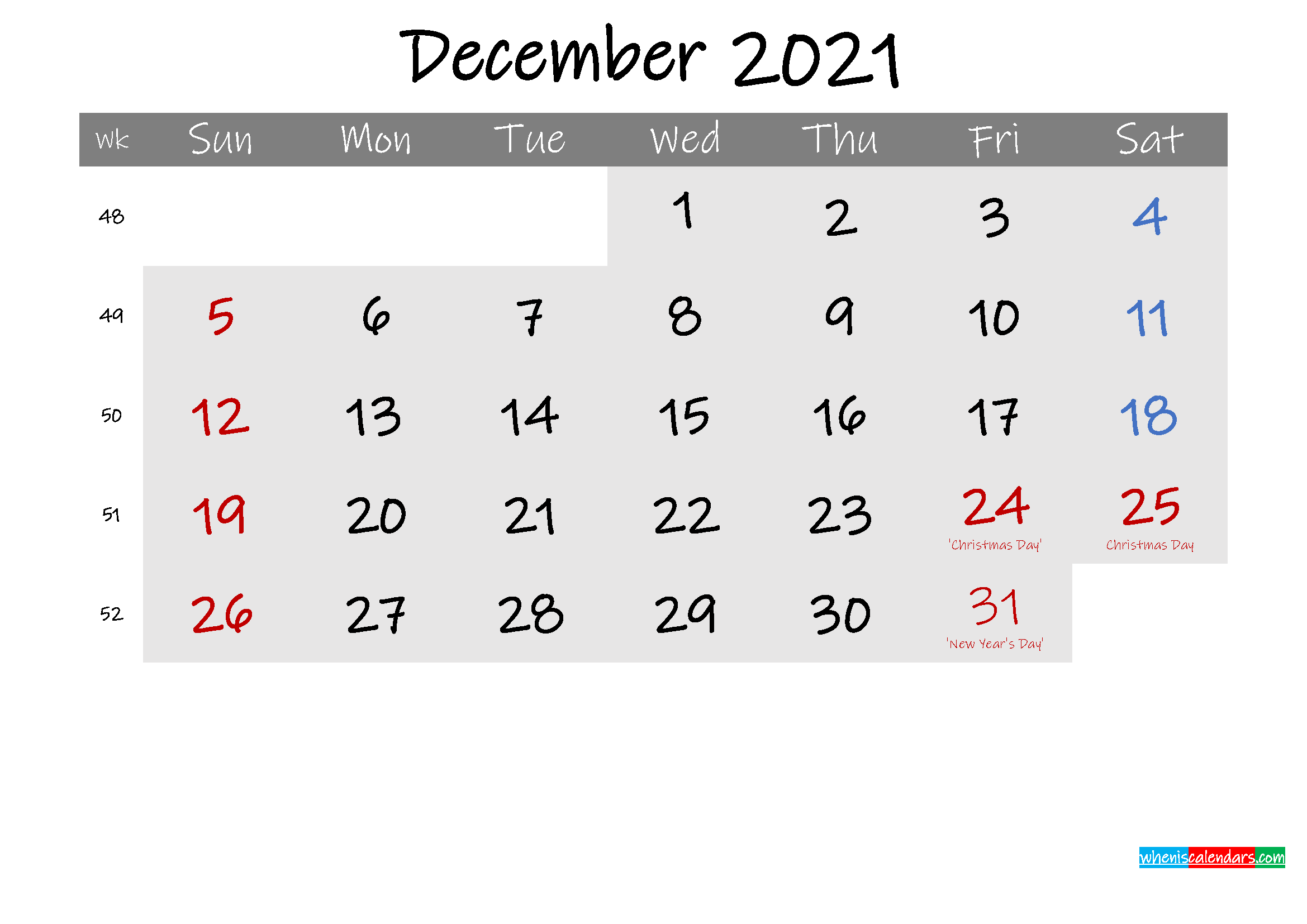 Free December 2021 Monthly Calendar Template Word