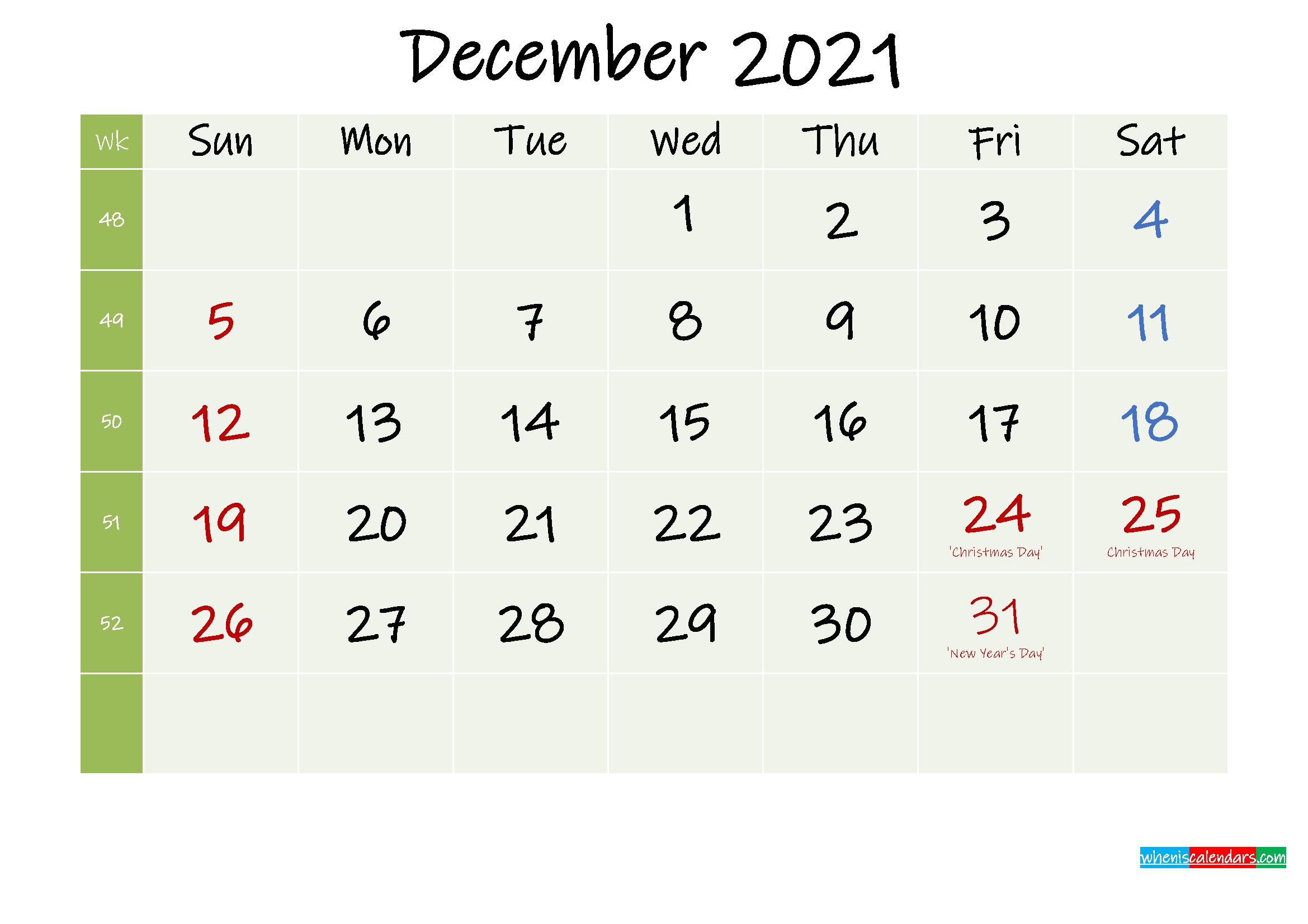 December 2021 Calendar with Holidays Printable