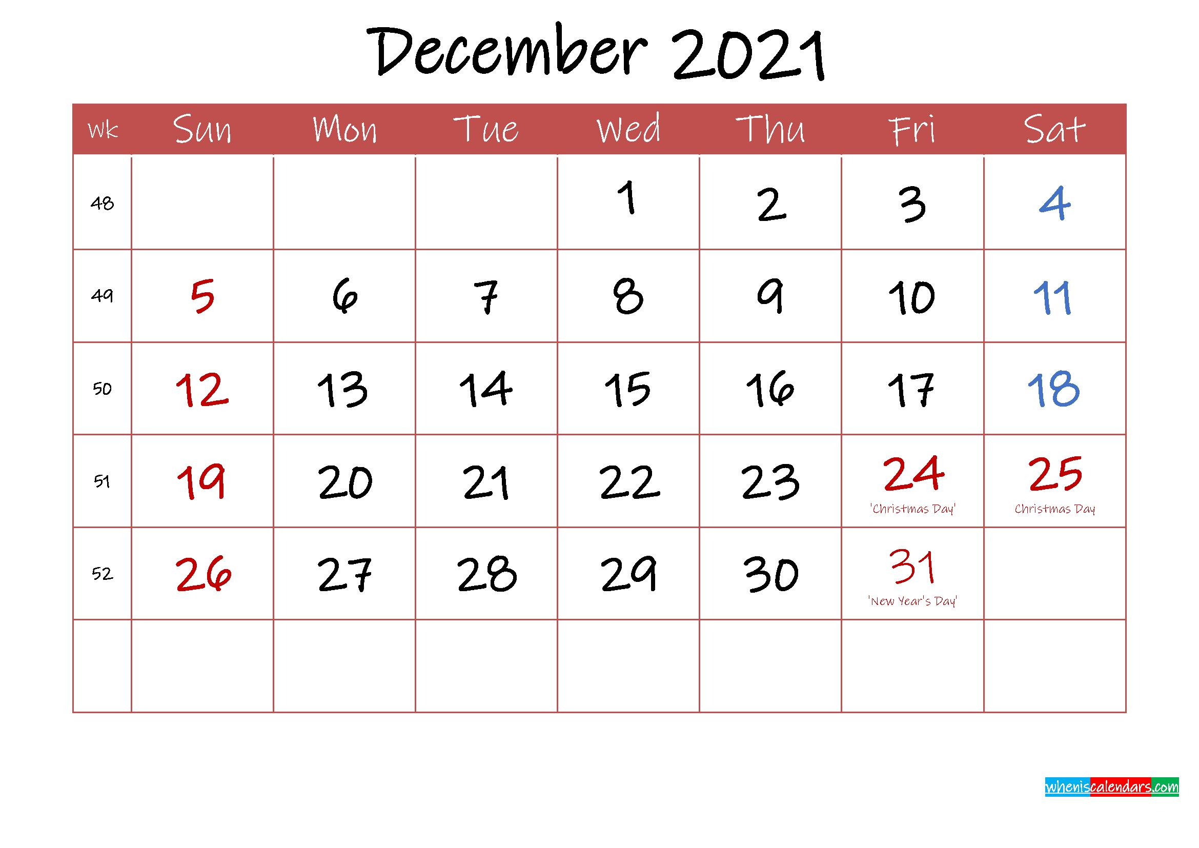 Printable December 2021 Calendar with Holidays
