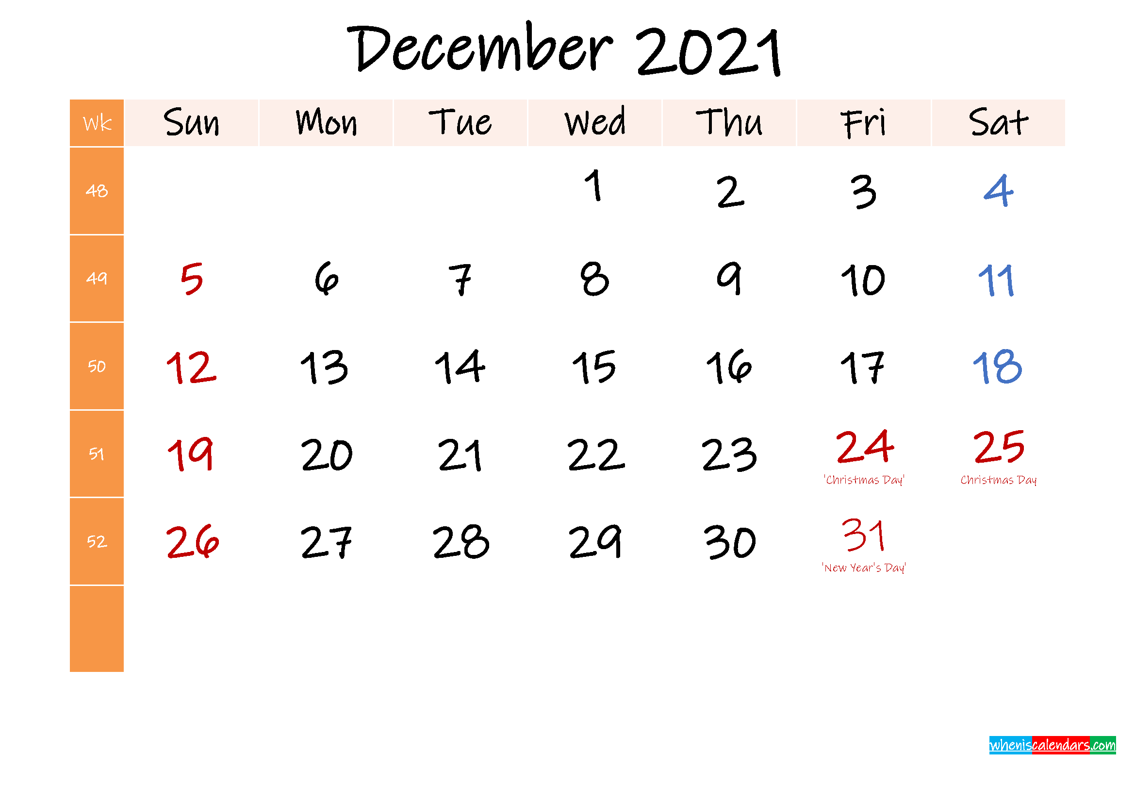 Free December 2021 Monthly Calendar Template Word