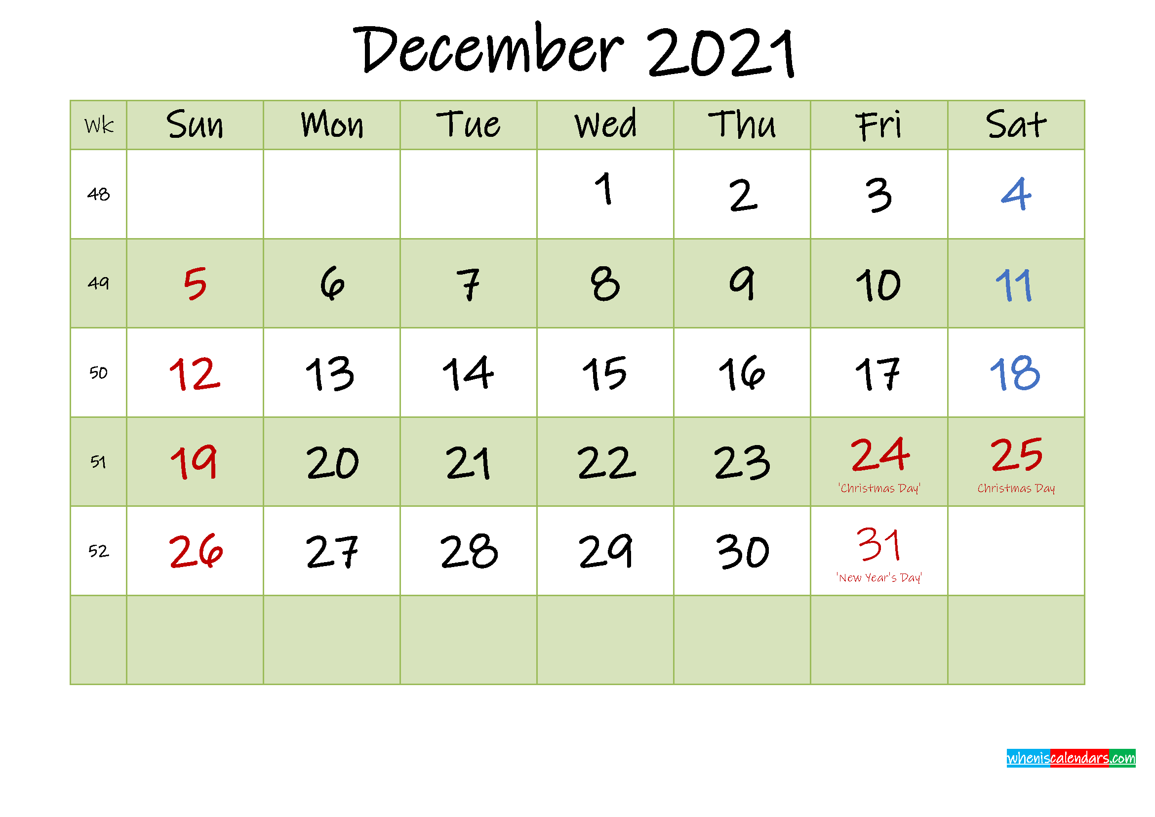 December 2021 Calendar with Holidays Printable