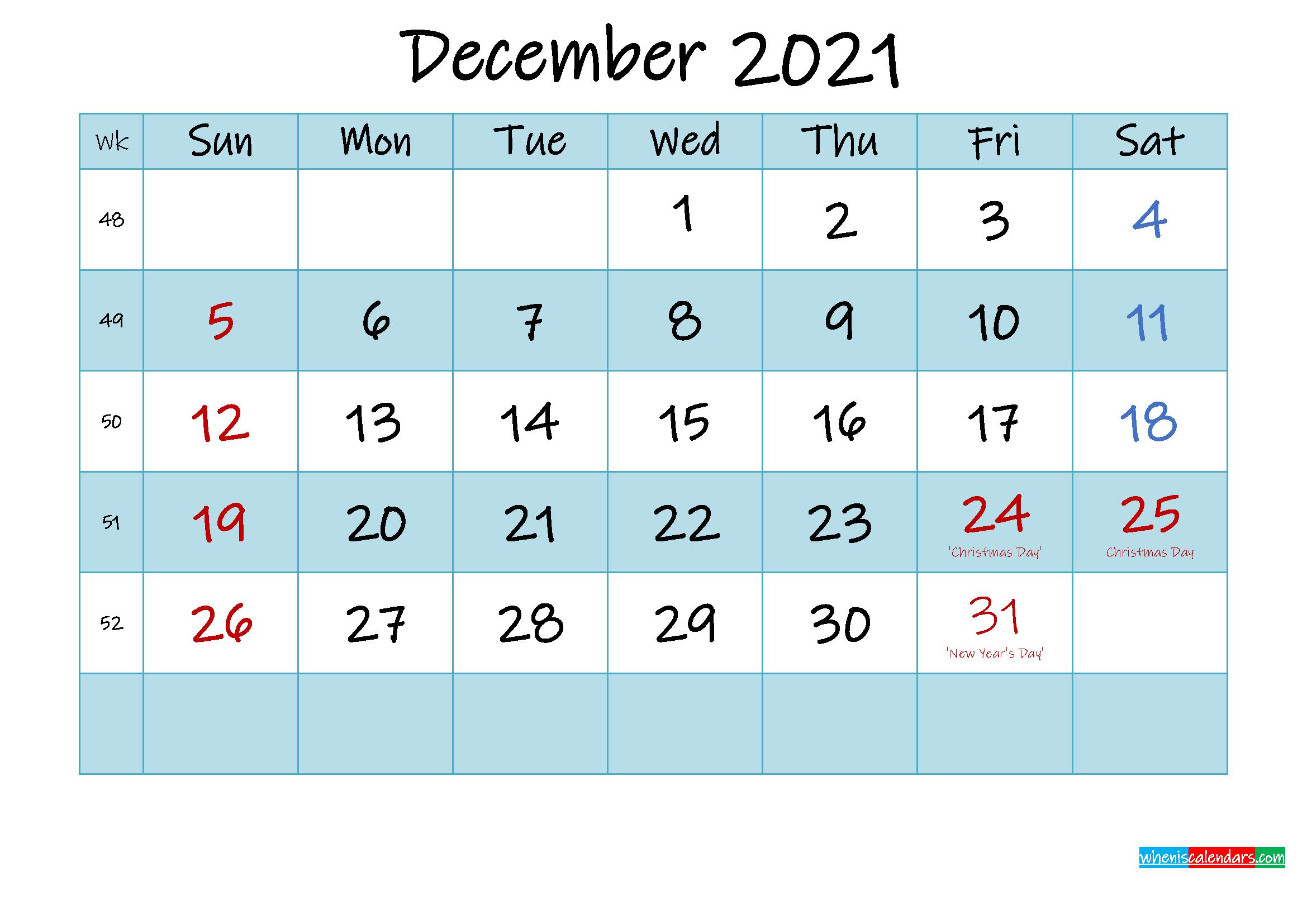 Printable December 2021 Calendar Word