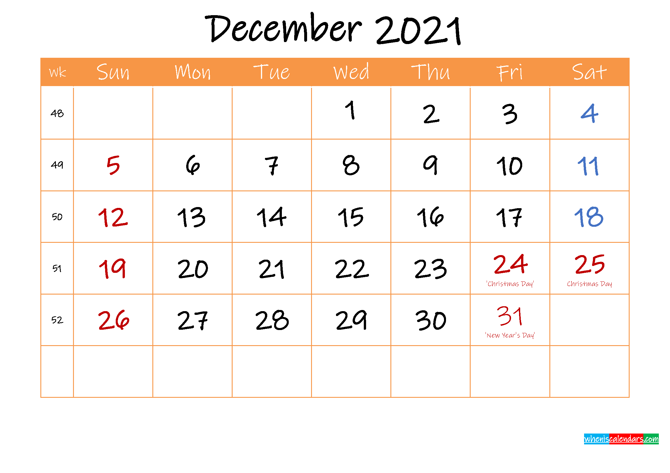 Free Printable Calendar December 2021