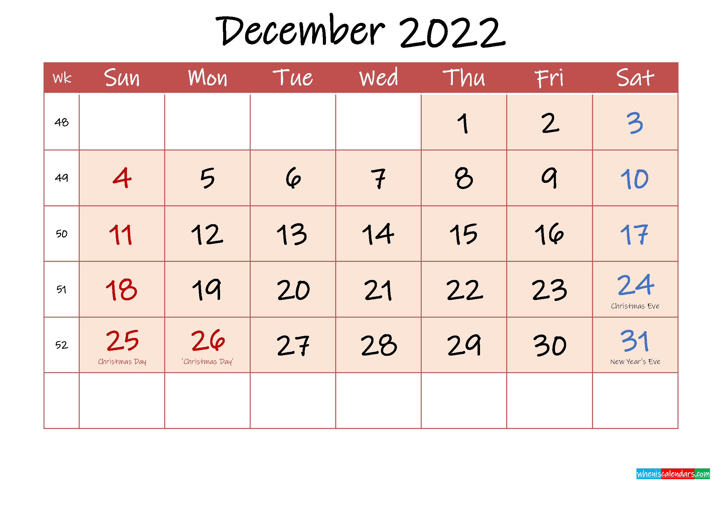 December 2022 Free Printable Calendar with Holidays