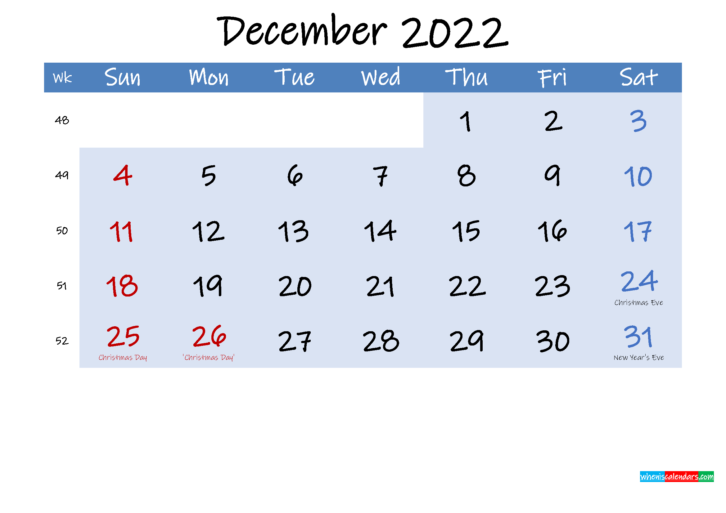 Free December 2022 Monthly Calendar PDF