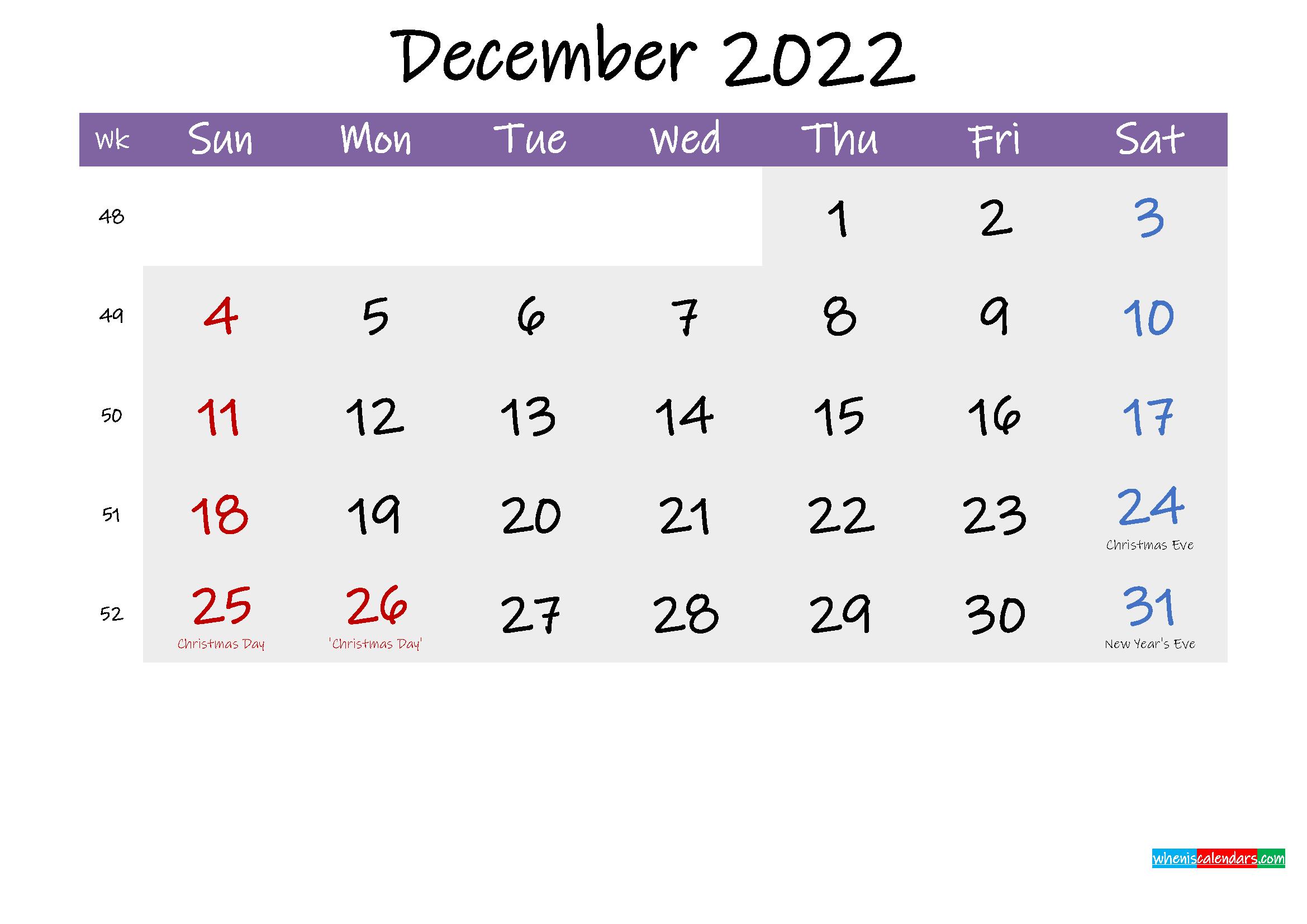 Editable December 2022 Calendar Word