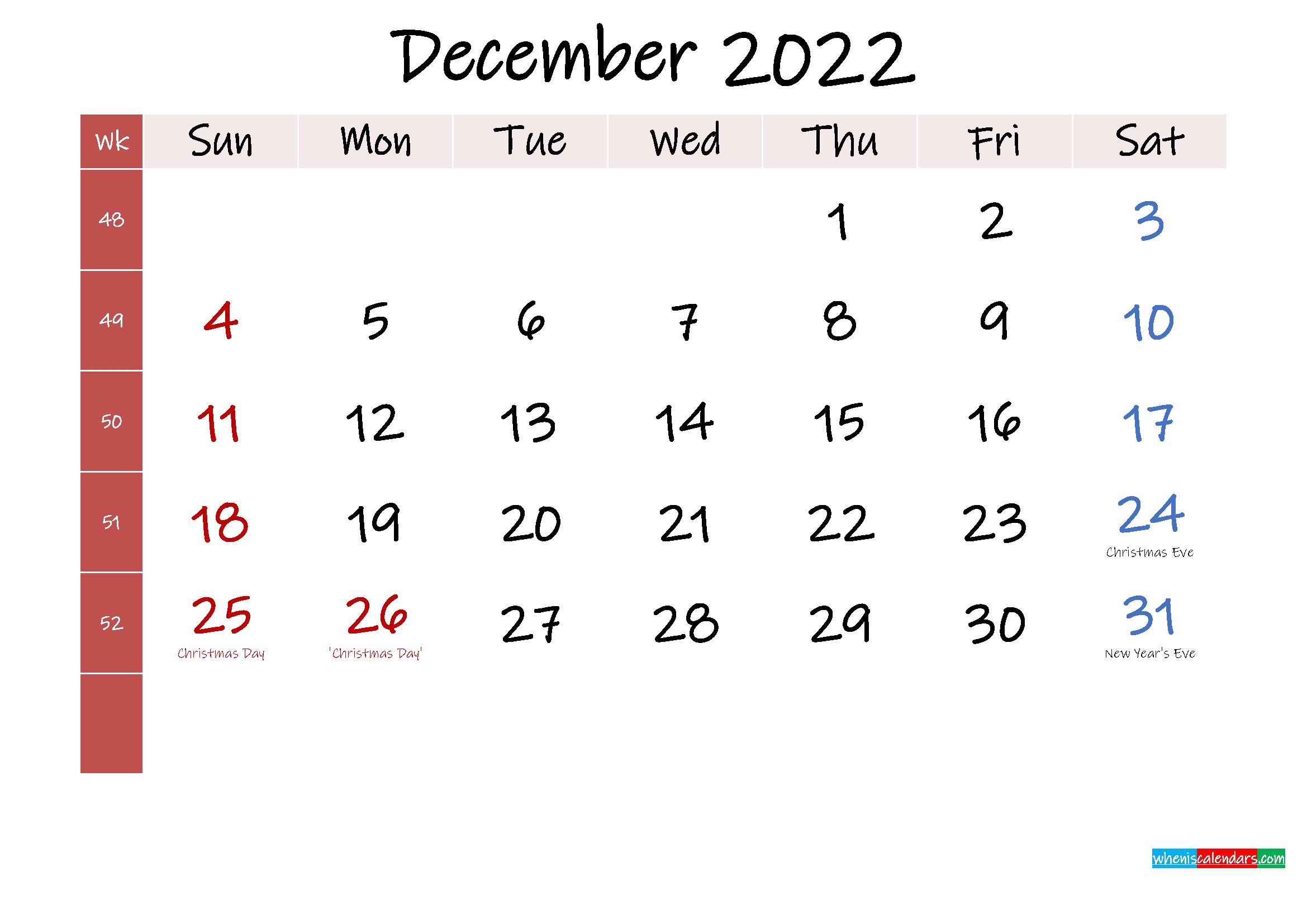 December 2022 Free Printable Calendar