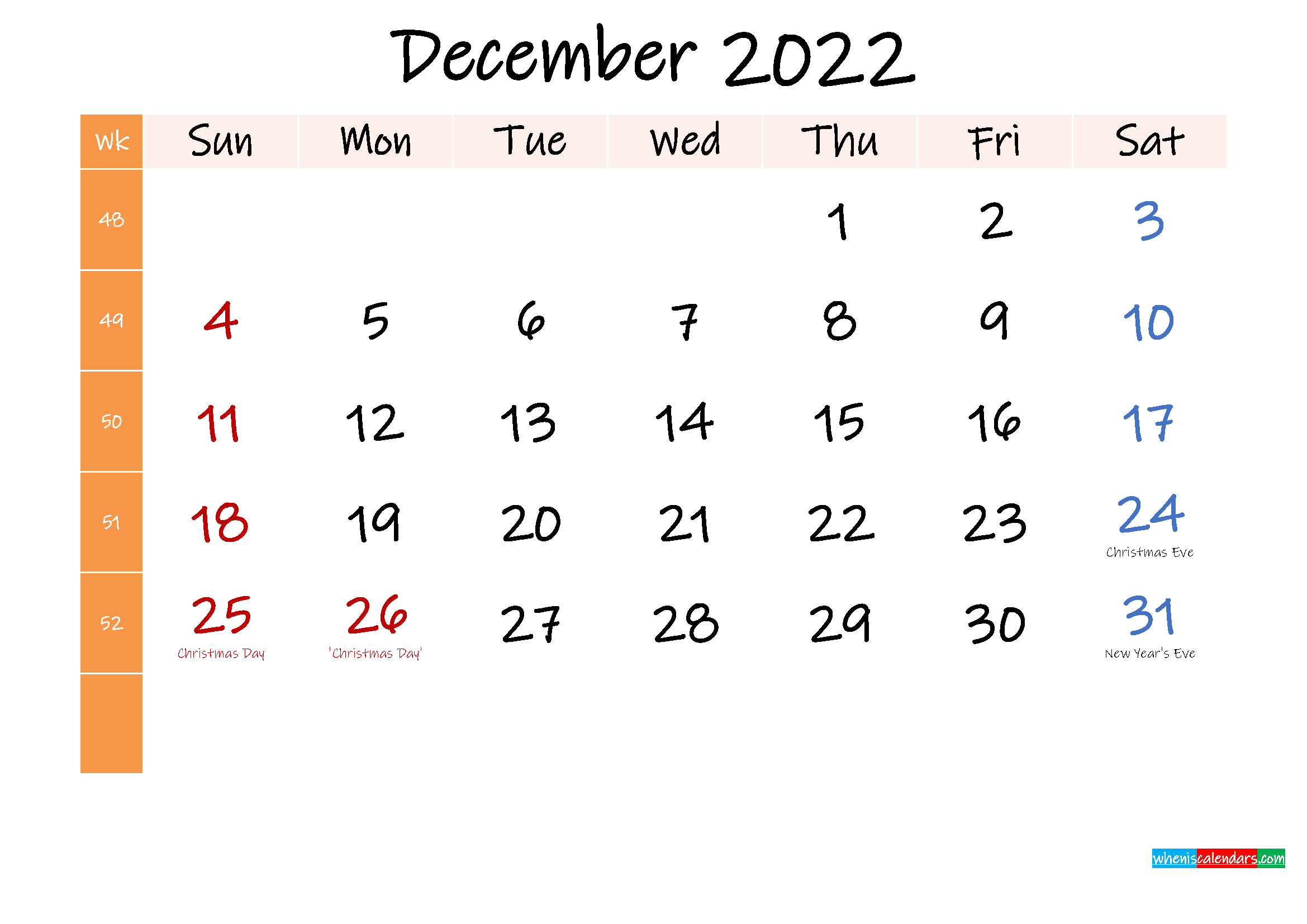 Free December 2022 Monthly Calendar Template Word