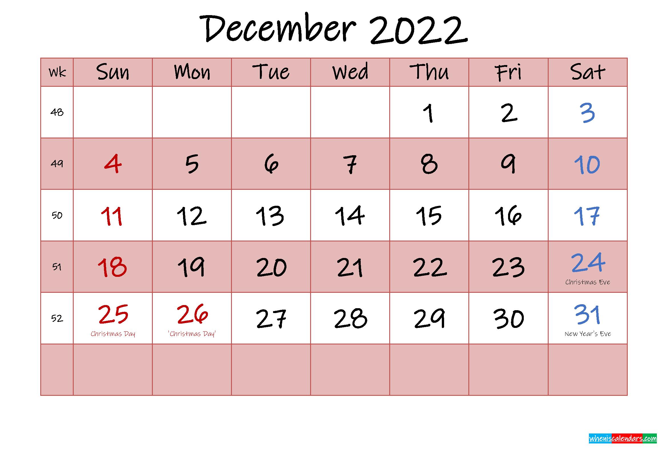 Free Printable Coloring Calendar 2022 December