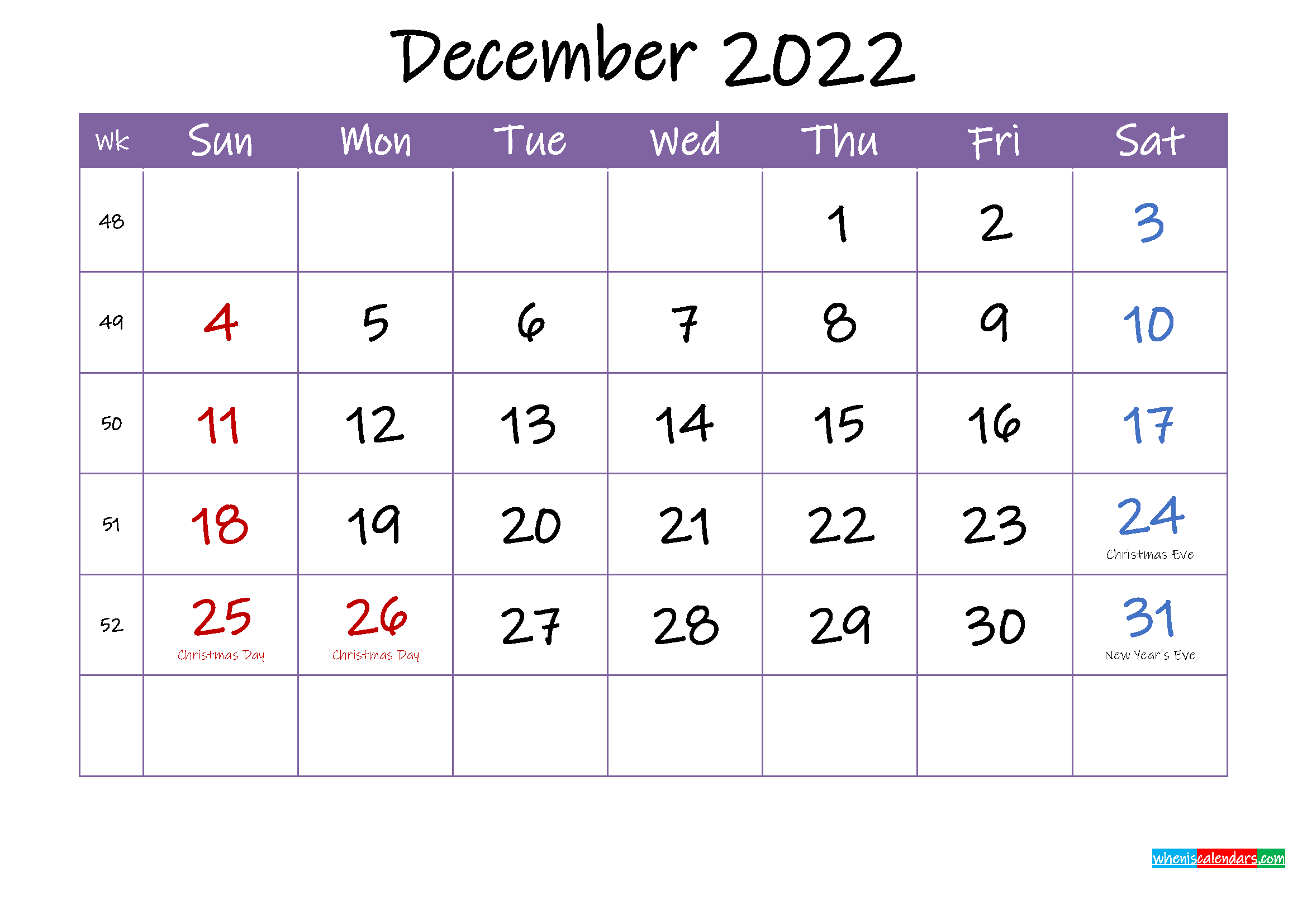 December 2022 Calendar with Holidays Printable