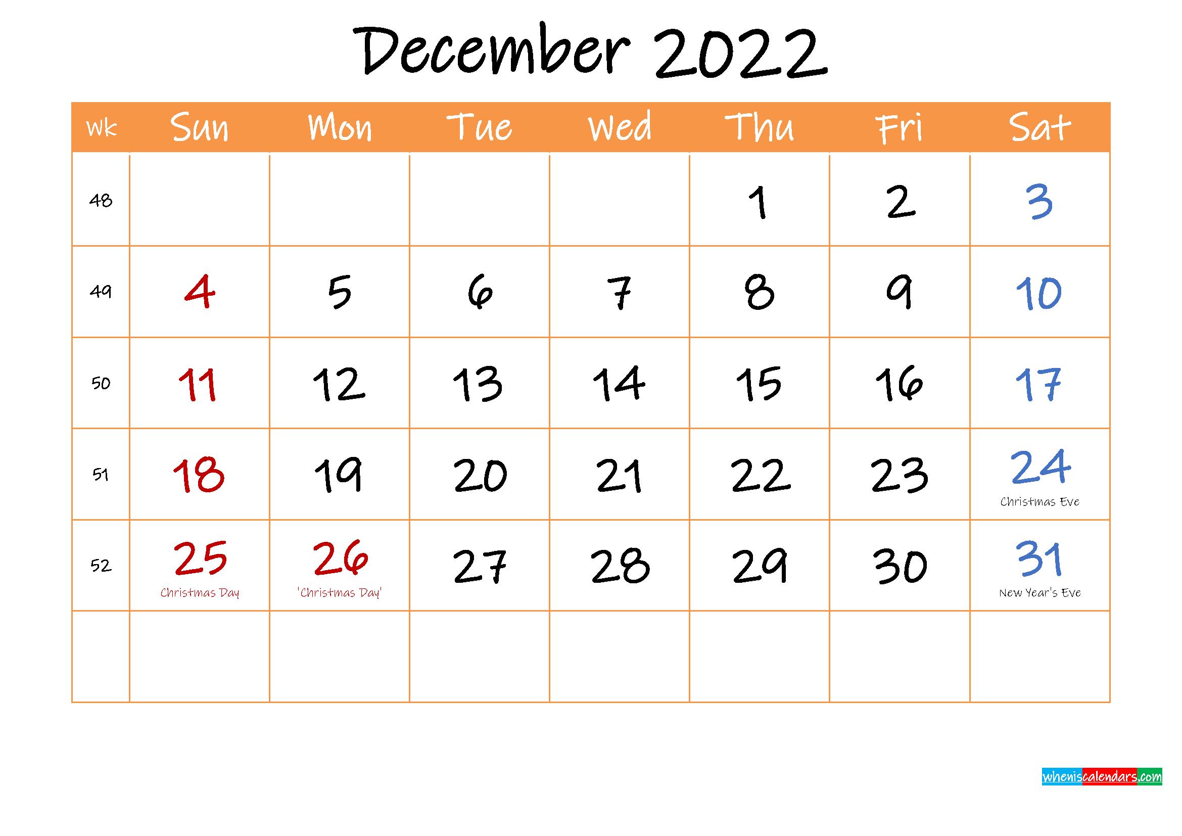 Free Printable Calendar December 2022