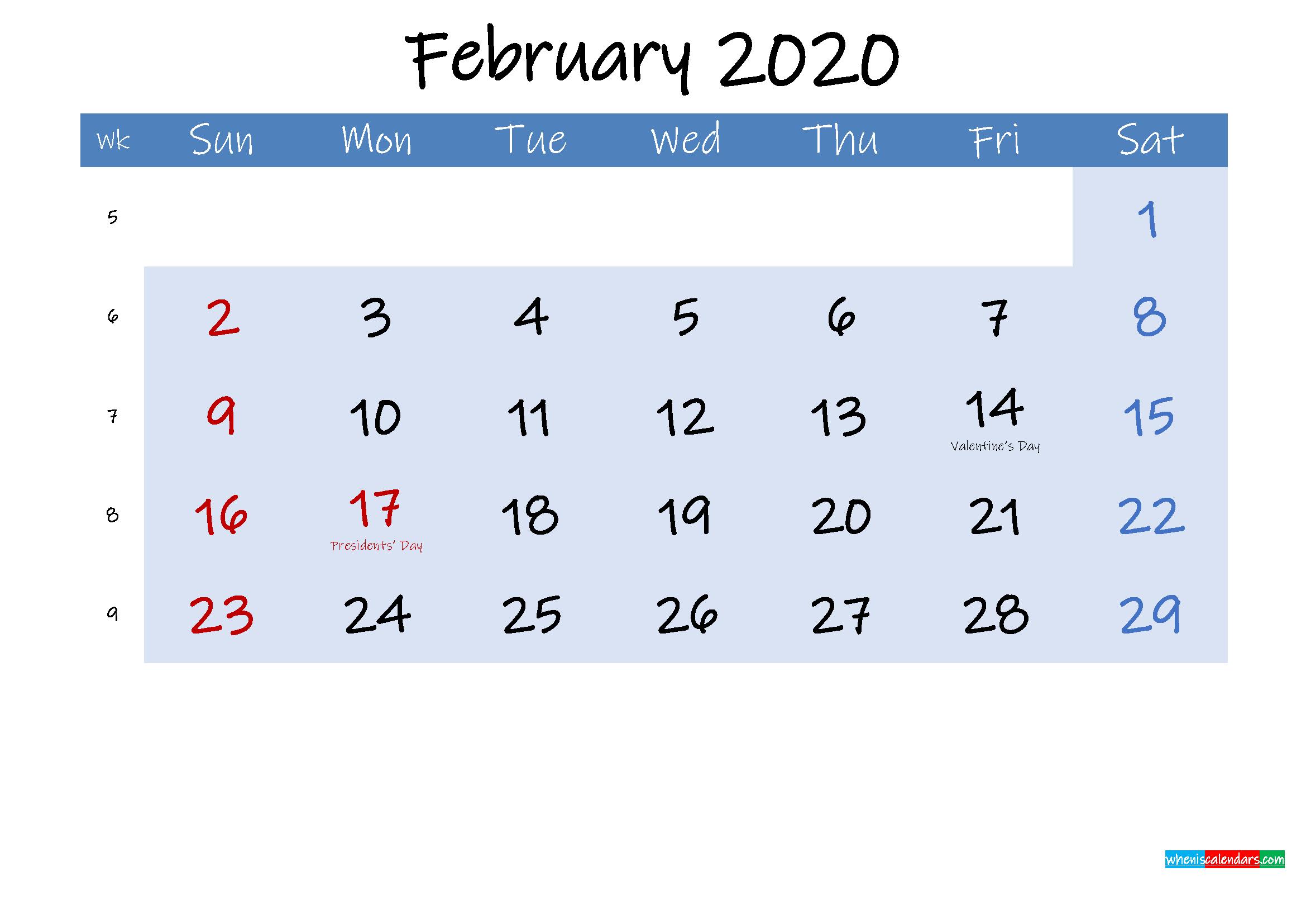 Free February 2020 Monthly Calendar PDF