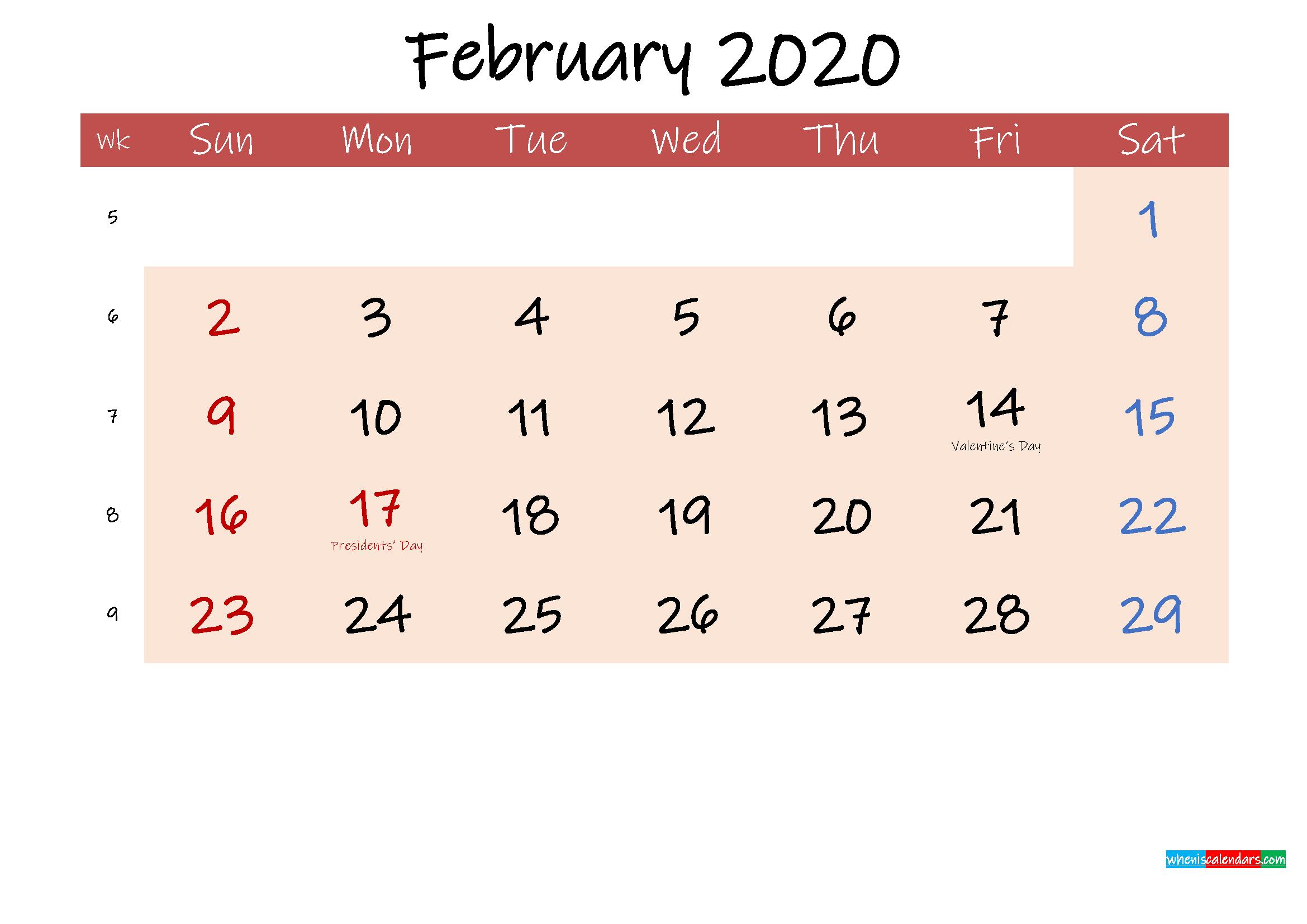 Free Printable Coloring Calendar 2020 February