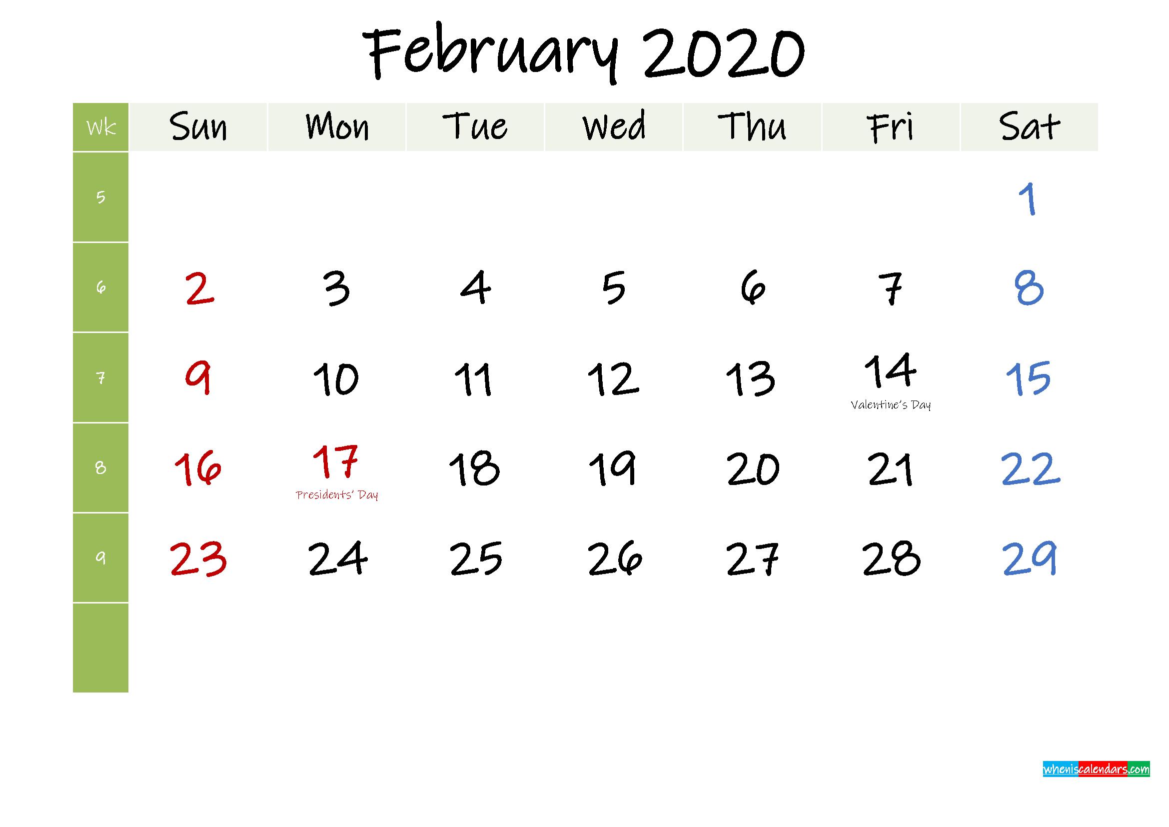 Free February 2020 Printable Calendar with Holidays