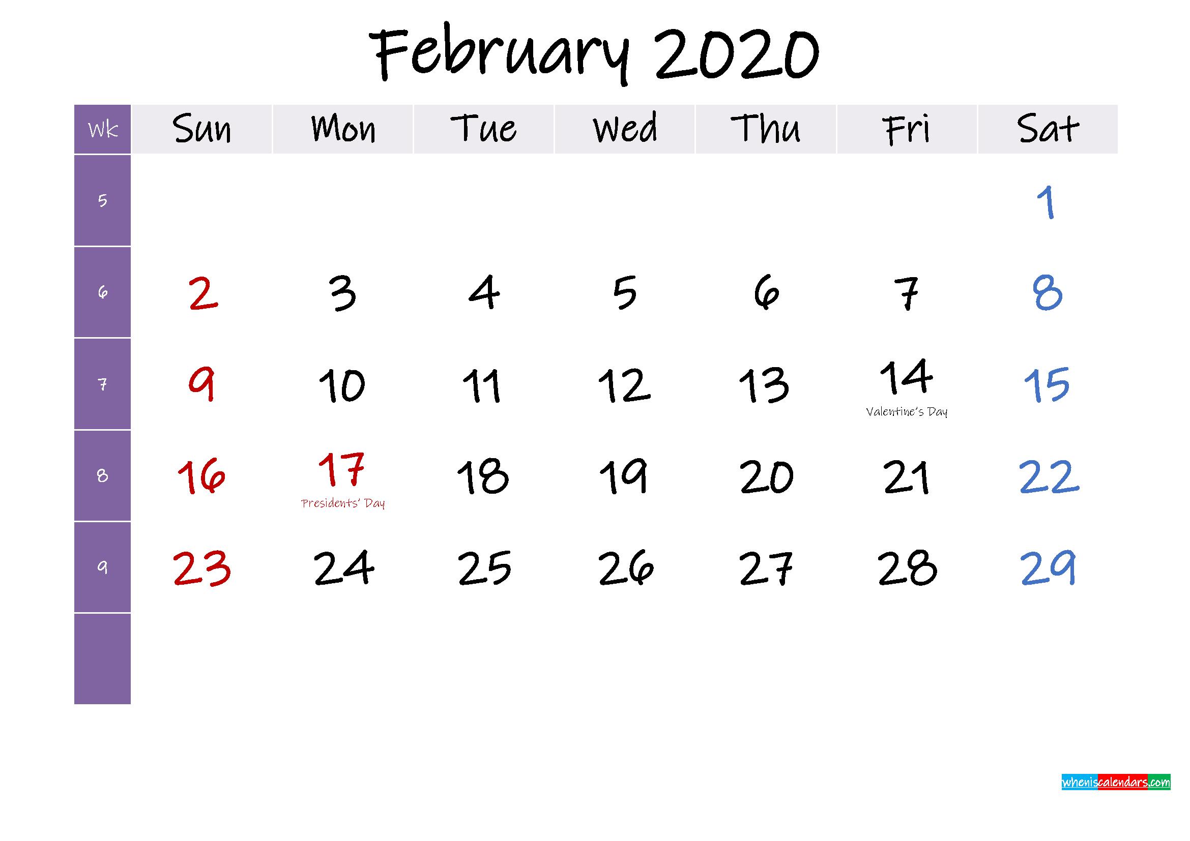 February 2020 Free Printable Calendar with Holidays