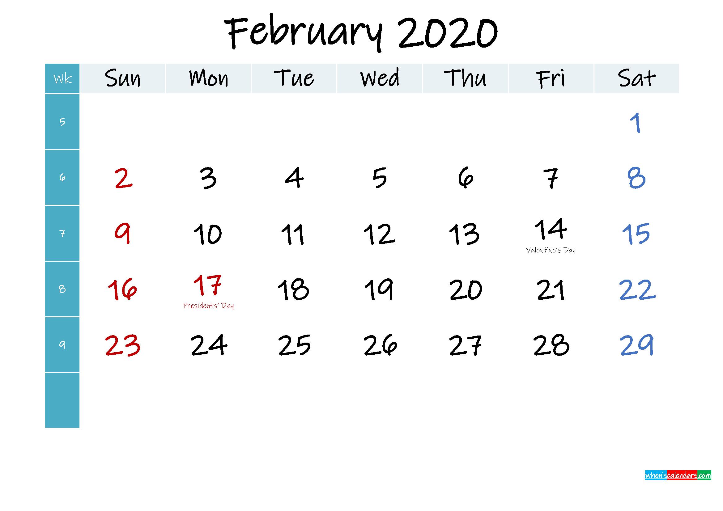 February 2020 Free Printable Calendar
