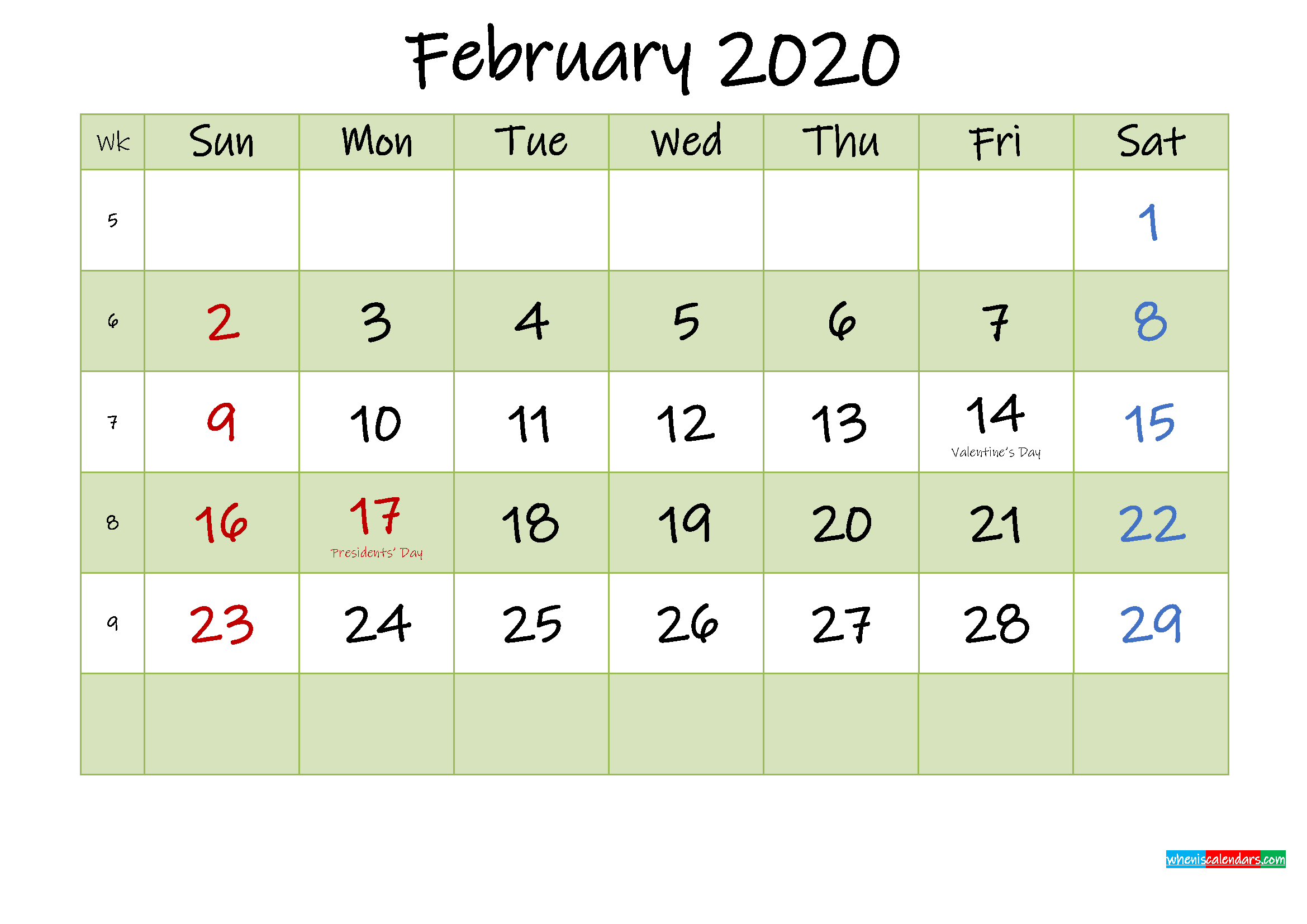 February 2020 Calendar with Holidays Printable