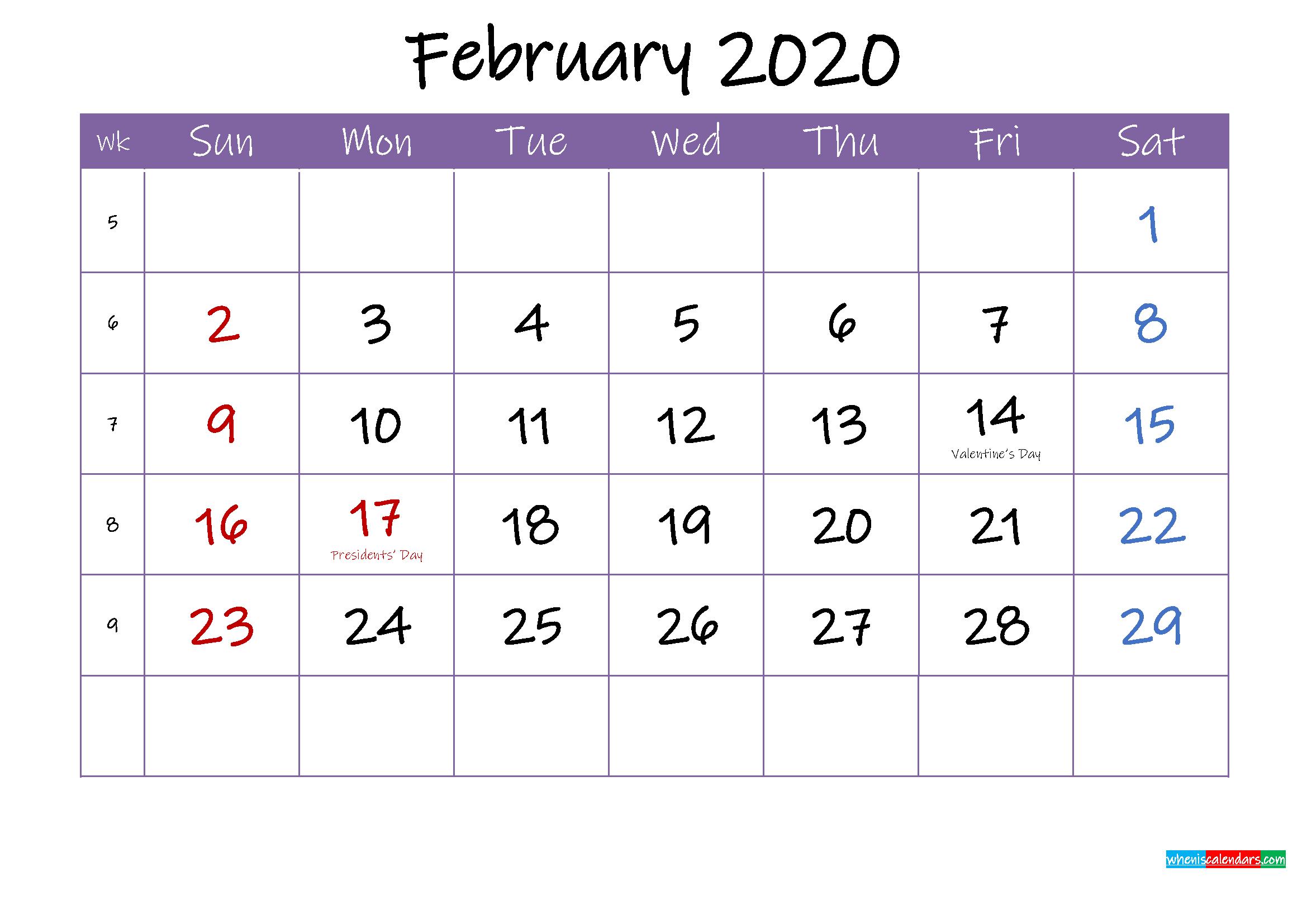 February 2020 Calendar with Holidays Printable