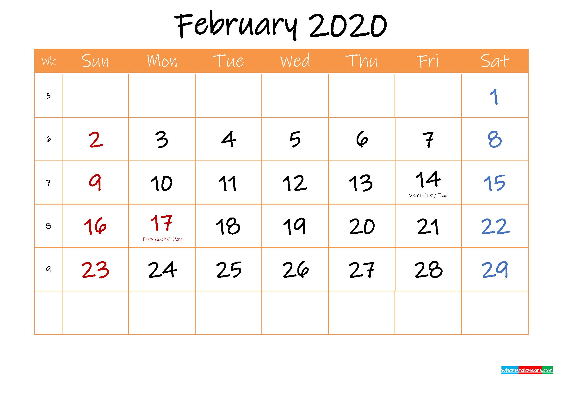 Free Printable Calendar February 2020