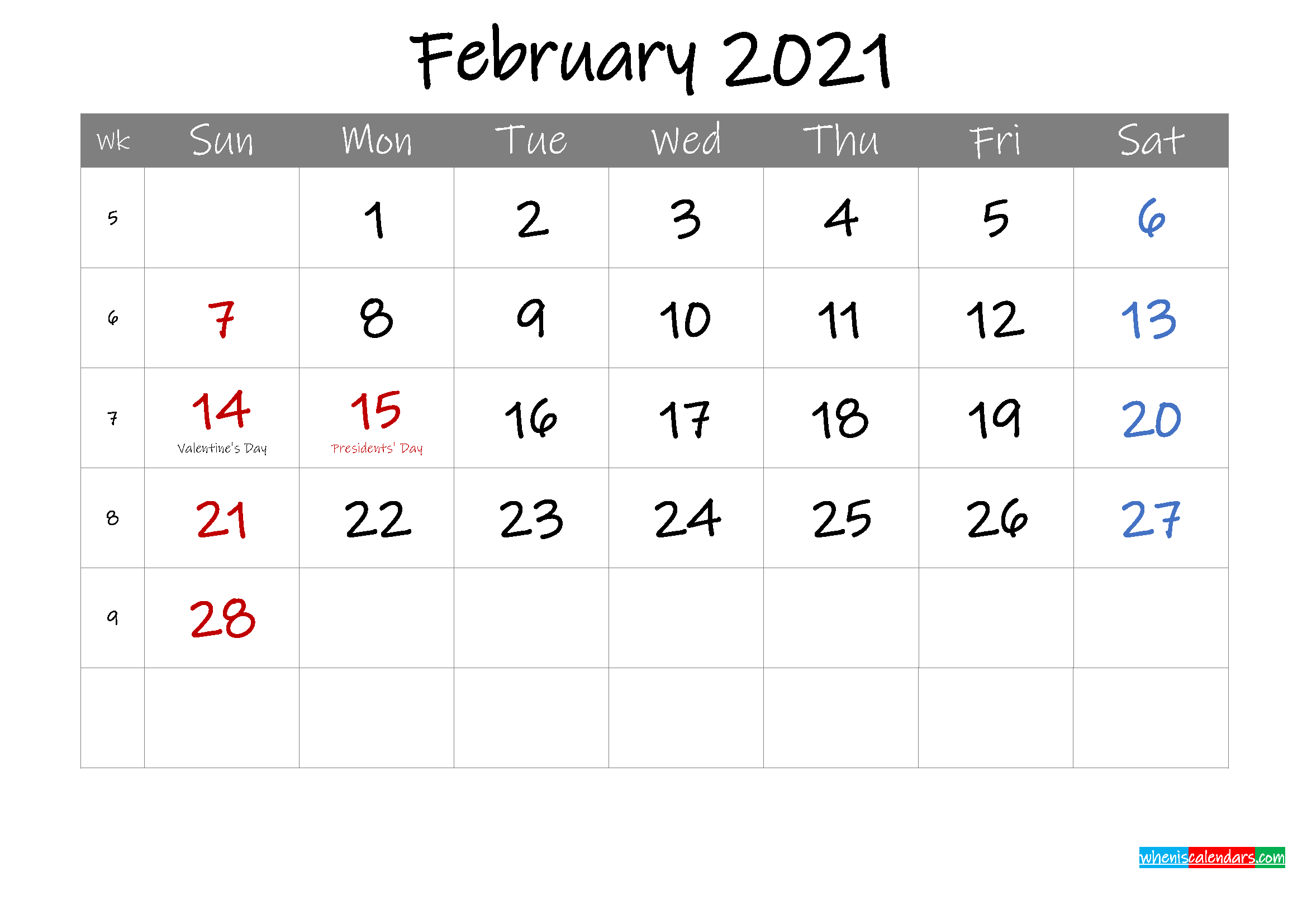 Editable February 2021 Calendar with Holidays