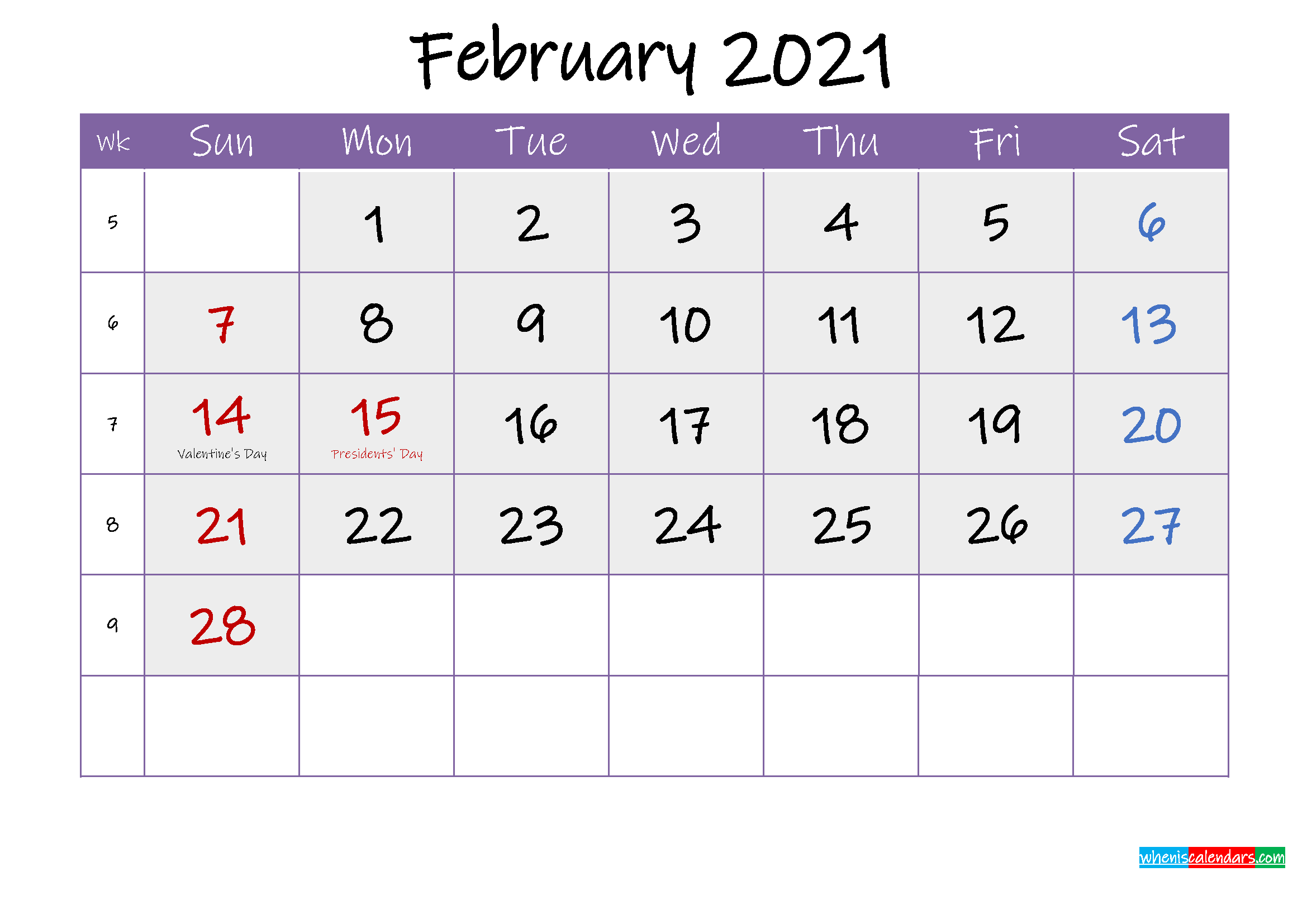 Free February 2021 Printable Calendar with Holidays ...