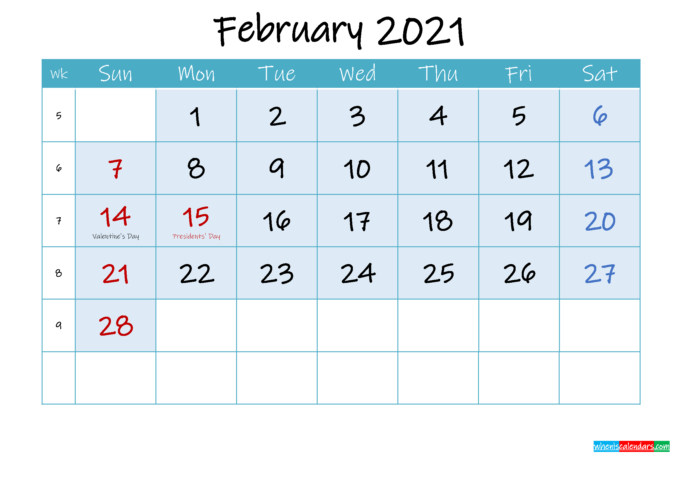 February 2021 Free Printable Calendar with Holidays