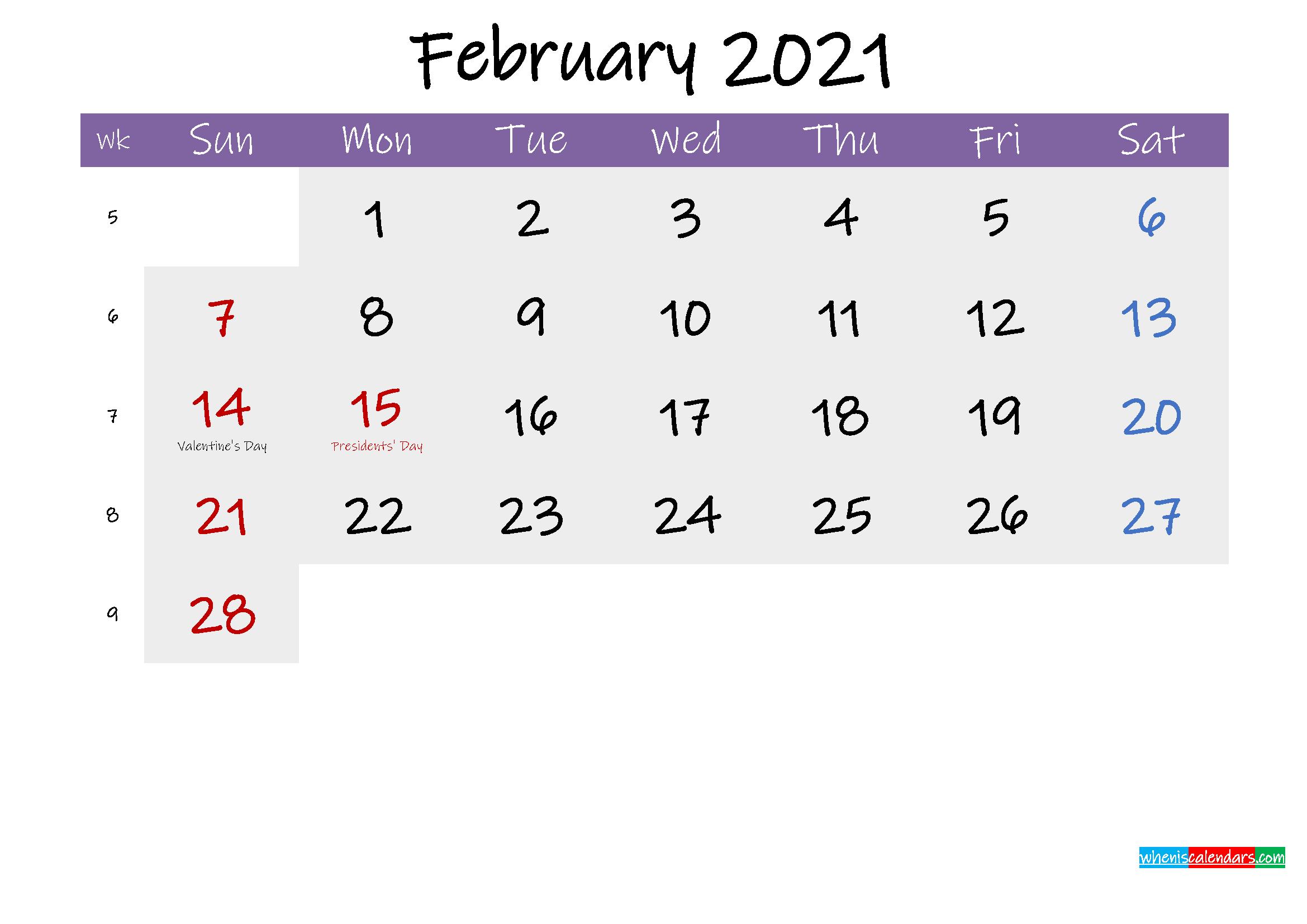Editable February 2021 Calendar Word