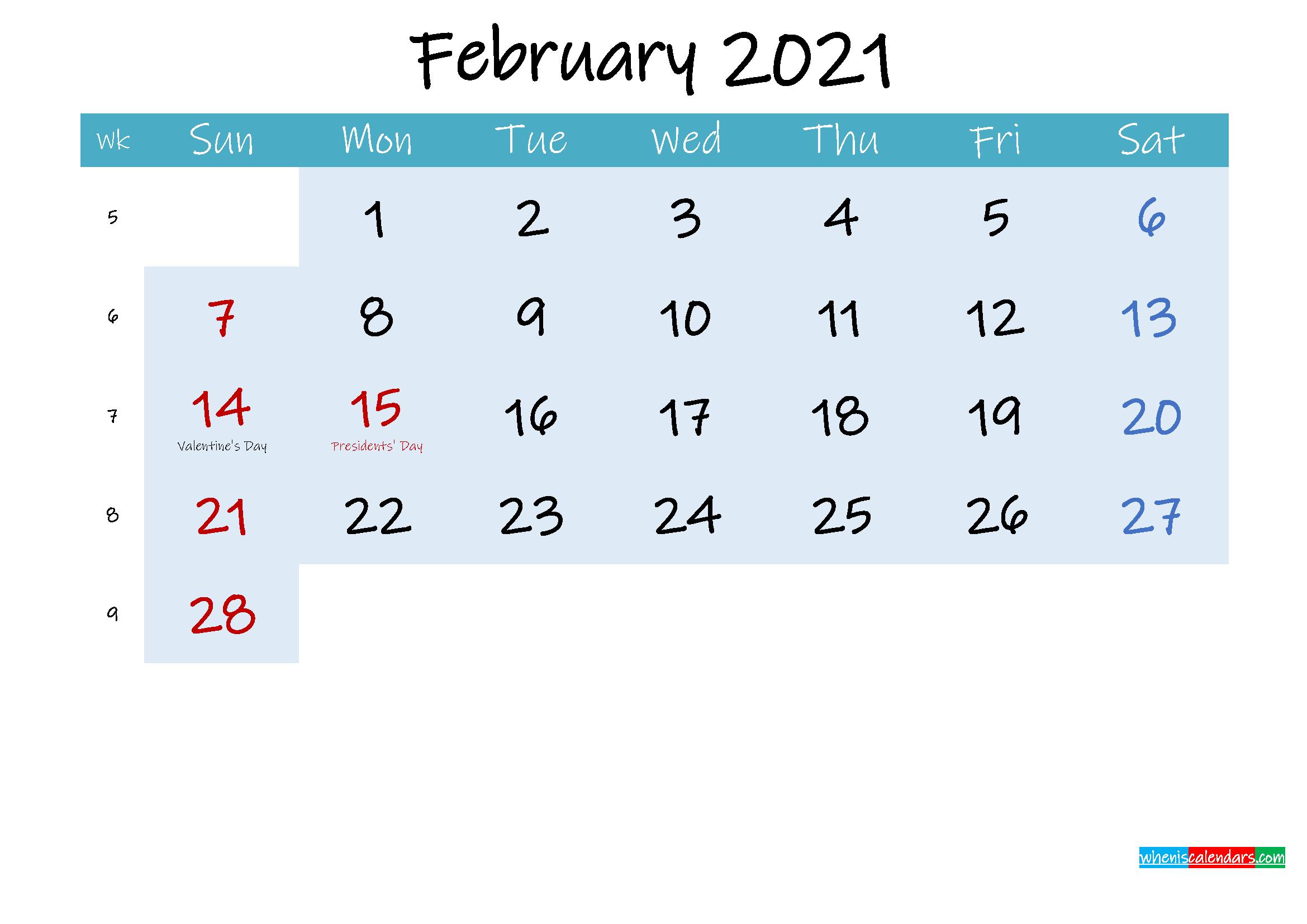 Printable February 2021 Calendar Word